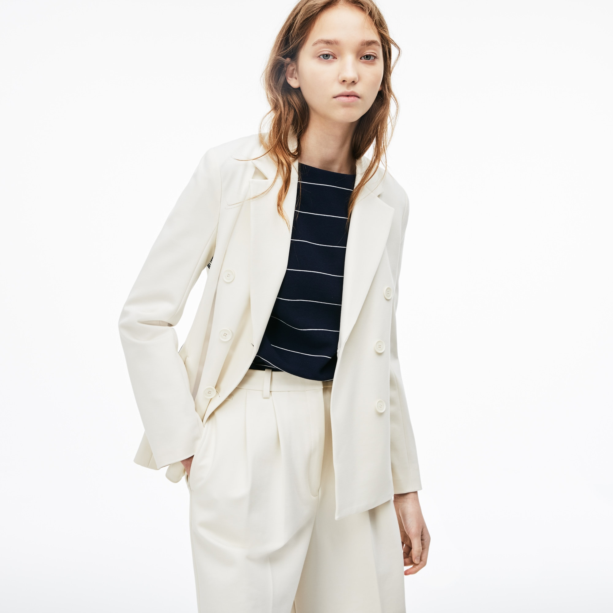 Women's Side Stripe Bands Stretch Milano Knit Blazer