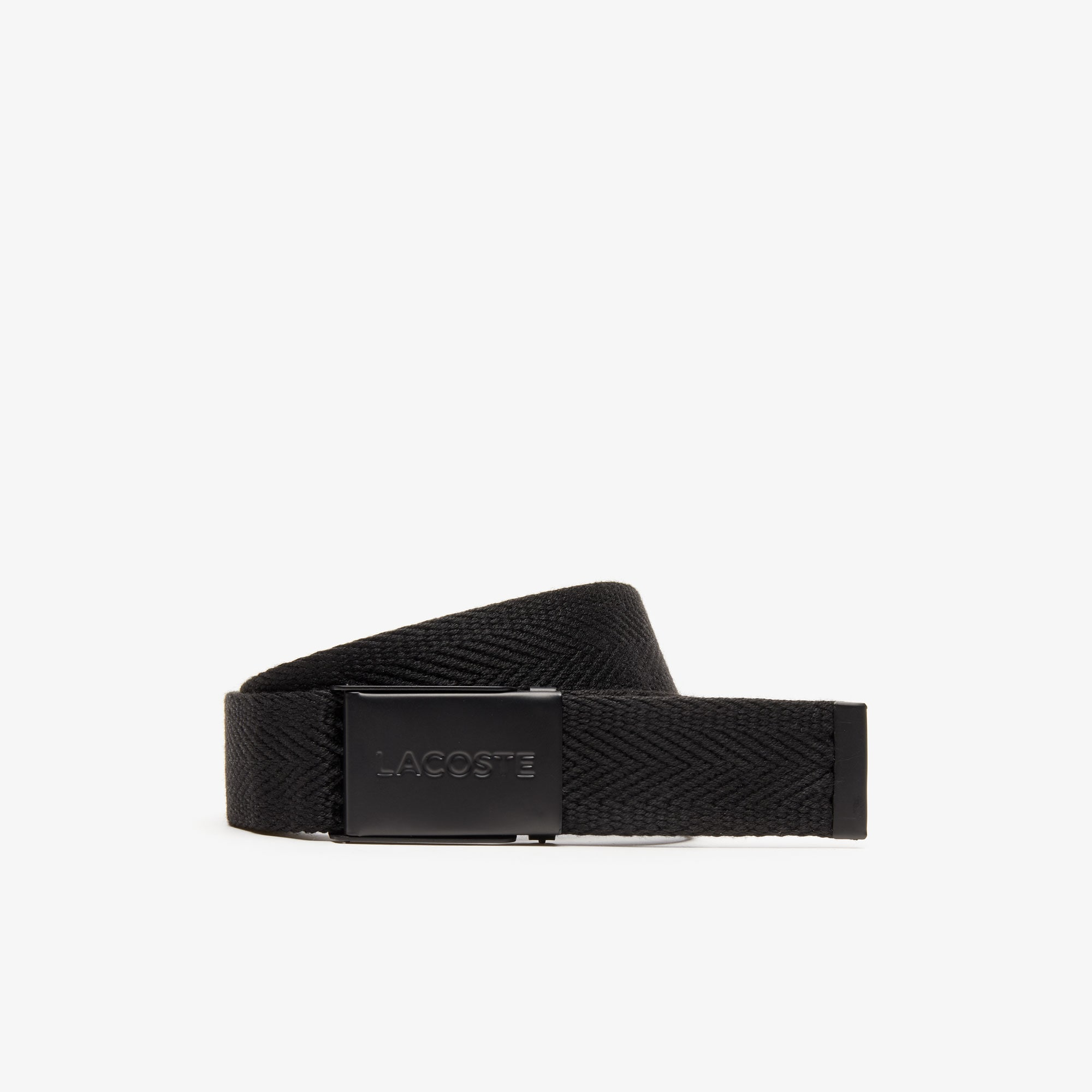 Men's Lacoste Engraved Plate Buckle Woven Belt