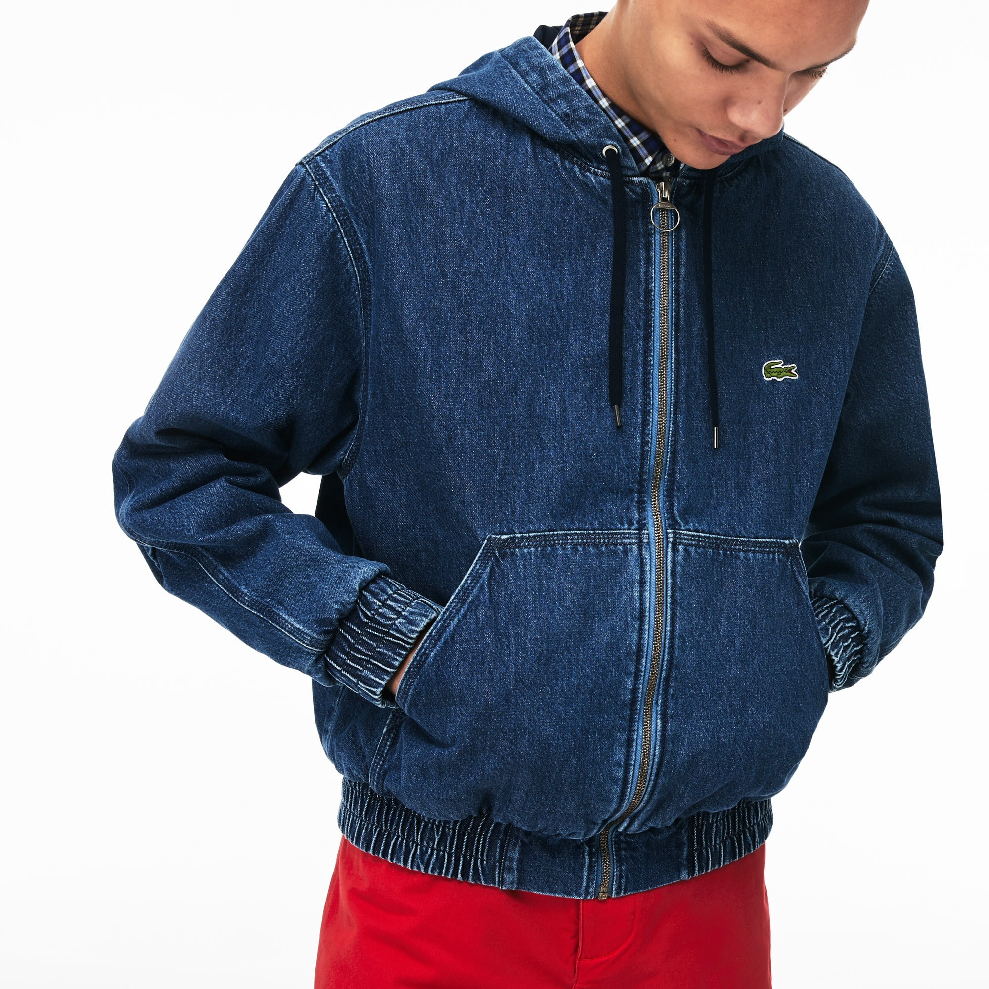 Men's Hooded Ribbed Finishes Denim Zip Jacket