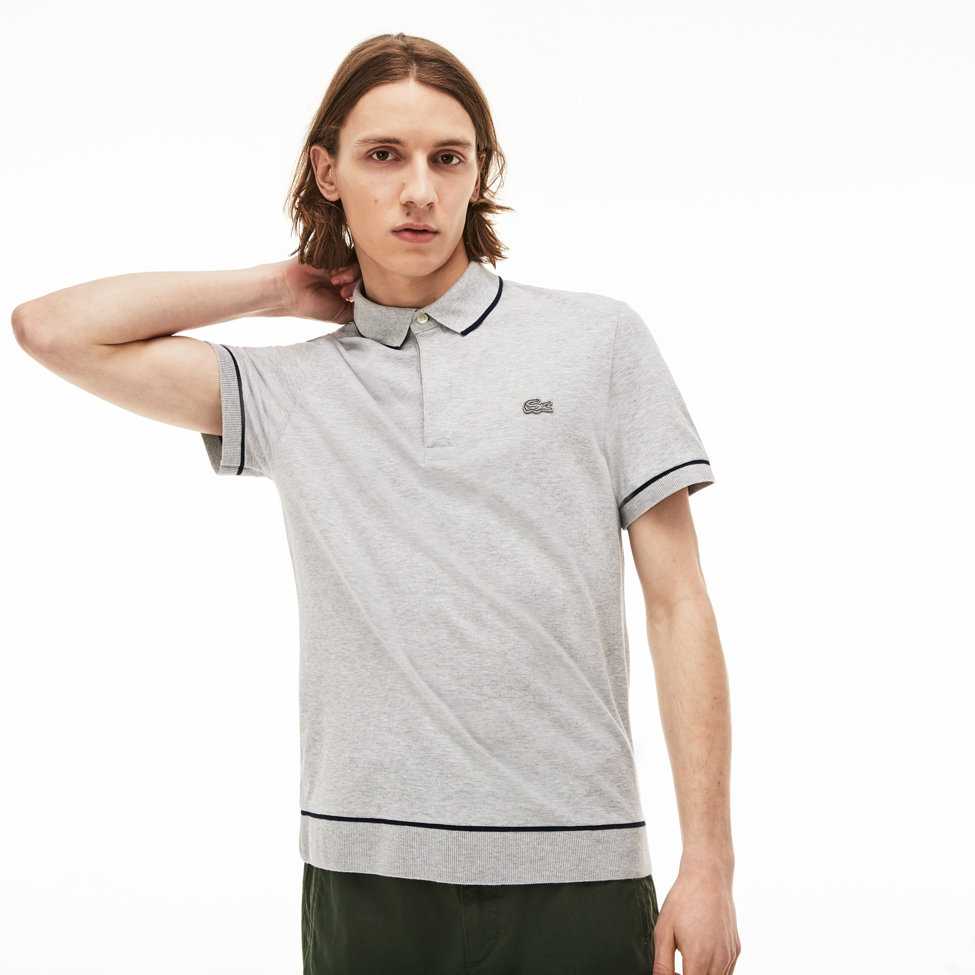 7aa81b3951 Men's Lacoste Regular Fit Piped Stretch Cotton Mini Piqué Polo Shirt ...