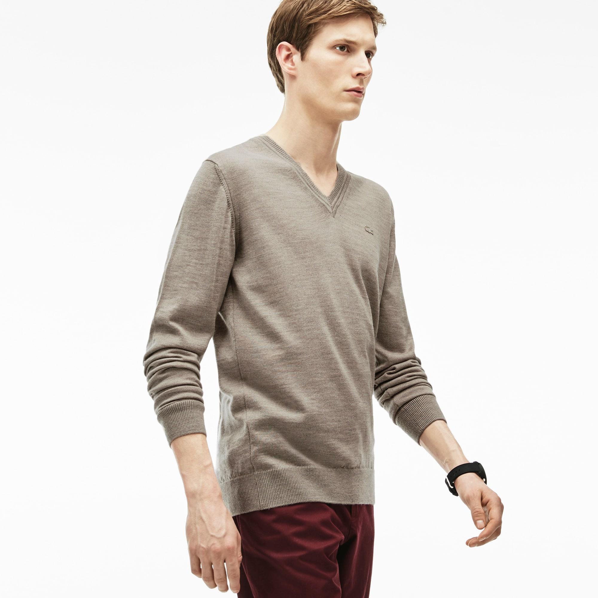 Men's V-neck Wool Jersey Sweater