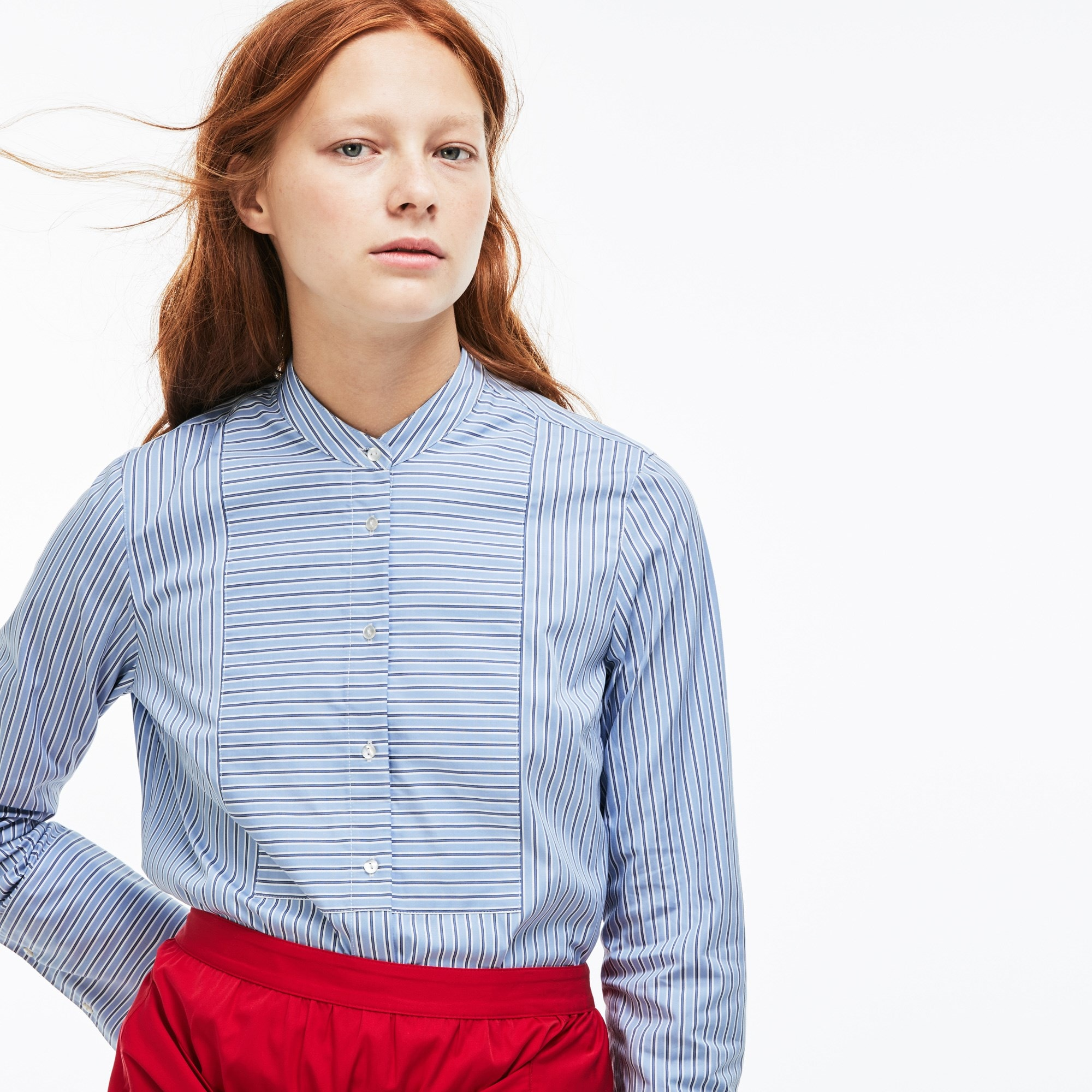 Women's Lacoste LIVE Boxy Fit Striped Poplin Shirt