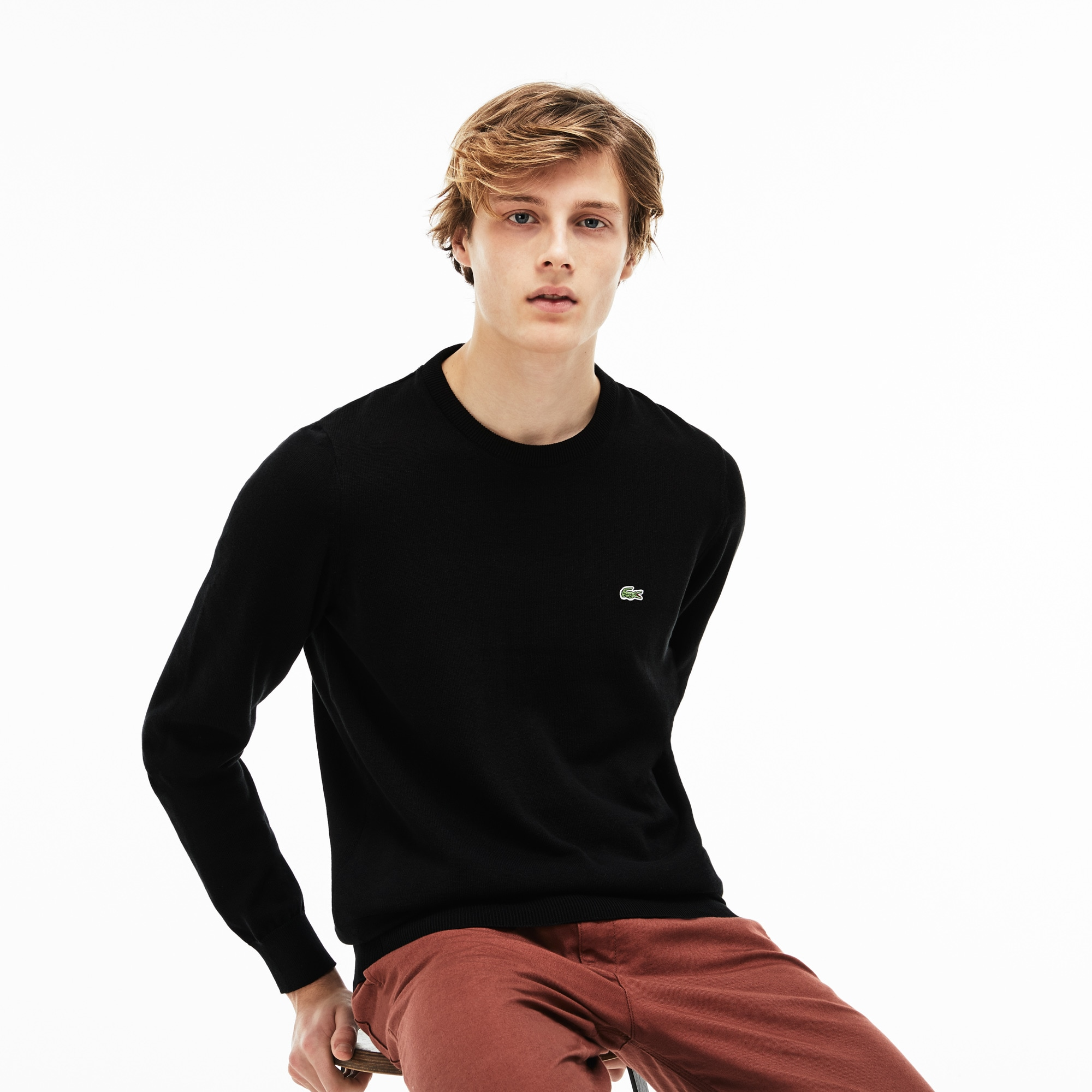 Men's Crew Neck Caviar Piqué Accent Cotton Jersey Sweater