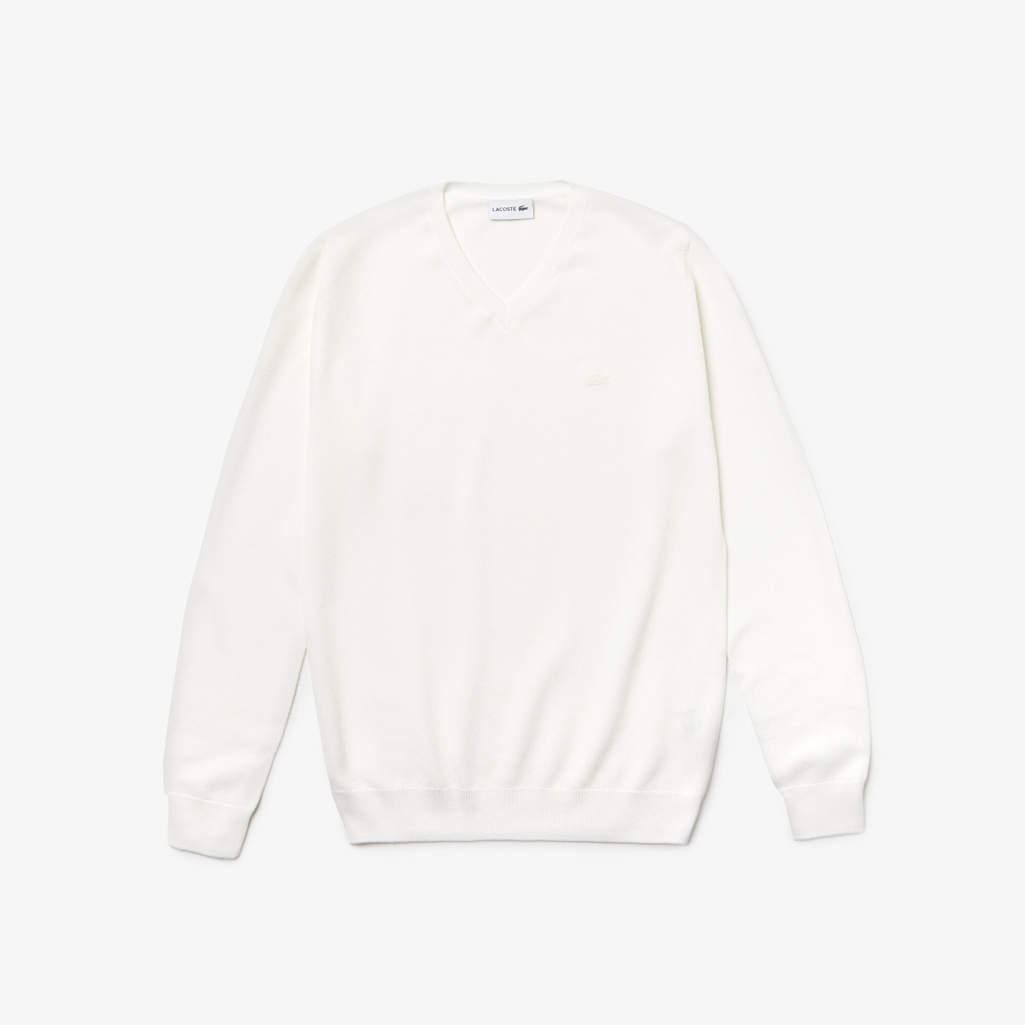 Men's V-neck Cotton Piqué Sweater