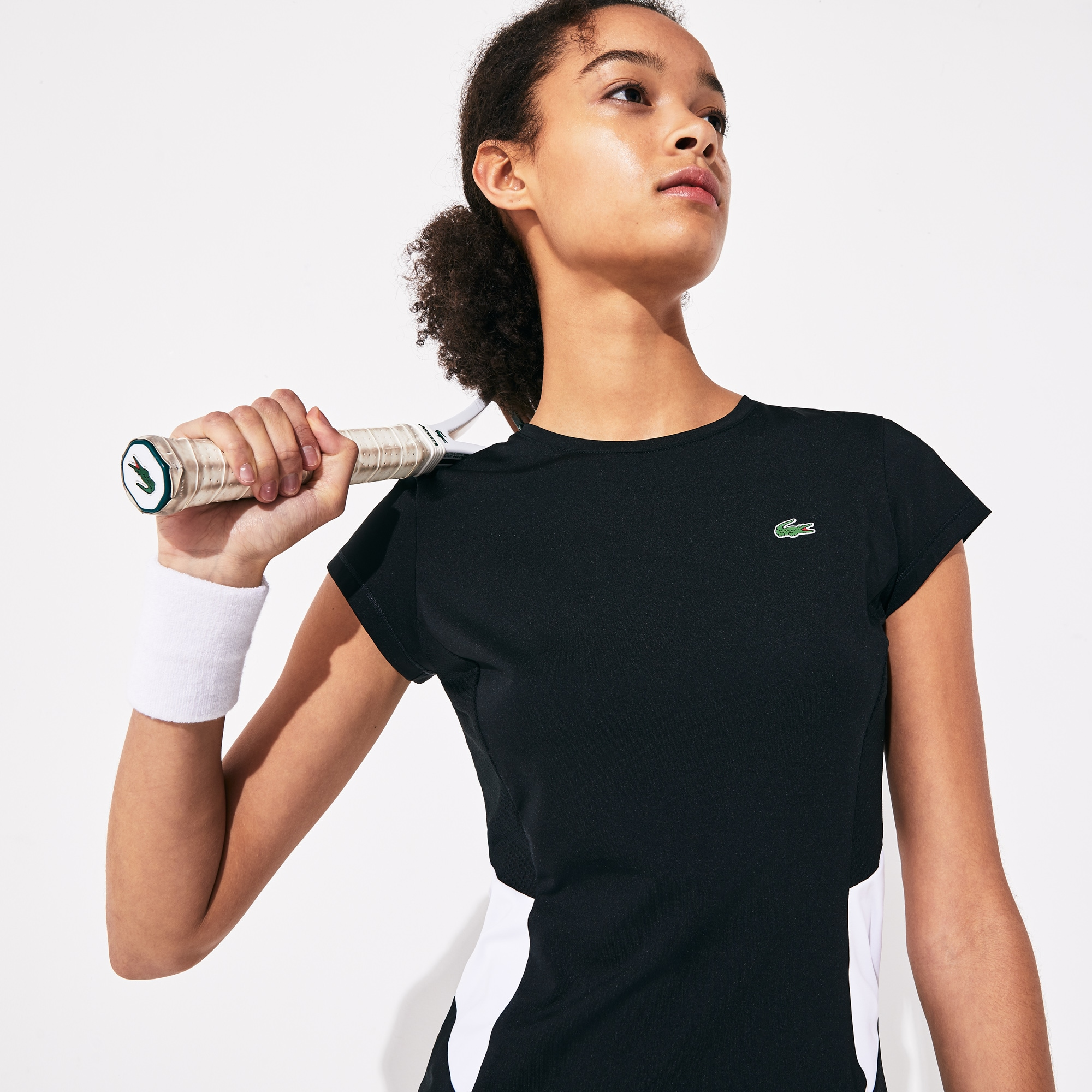 Women's Lacoste SPORT Crew Neck Stretch Tech Jersey Mesh Tennis T-shirt