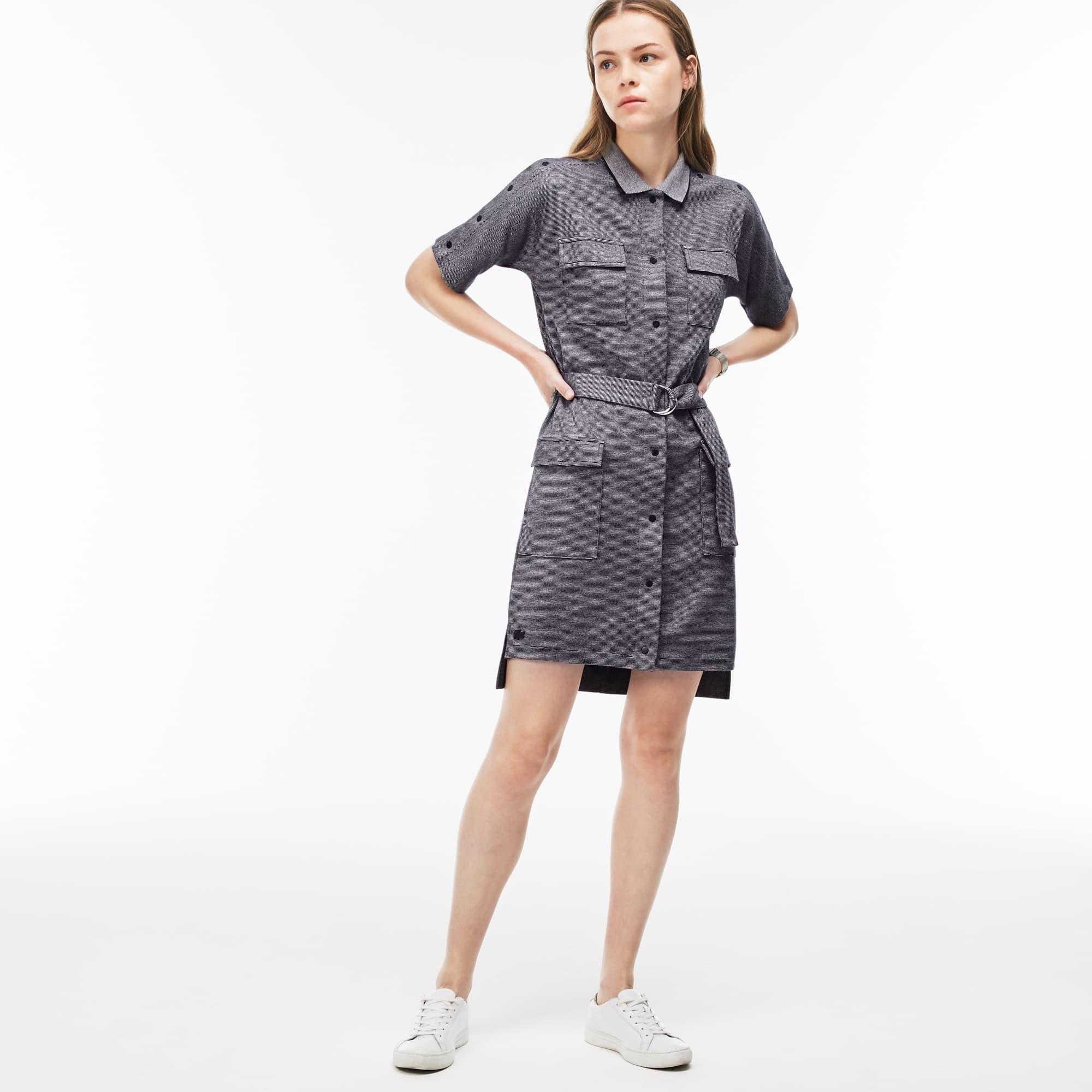 Women's Belted Buttoned Pinstriped Piqué Shirt Dress
