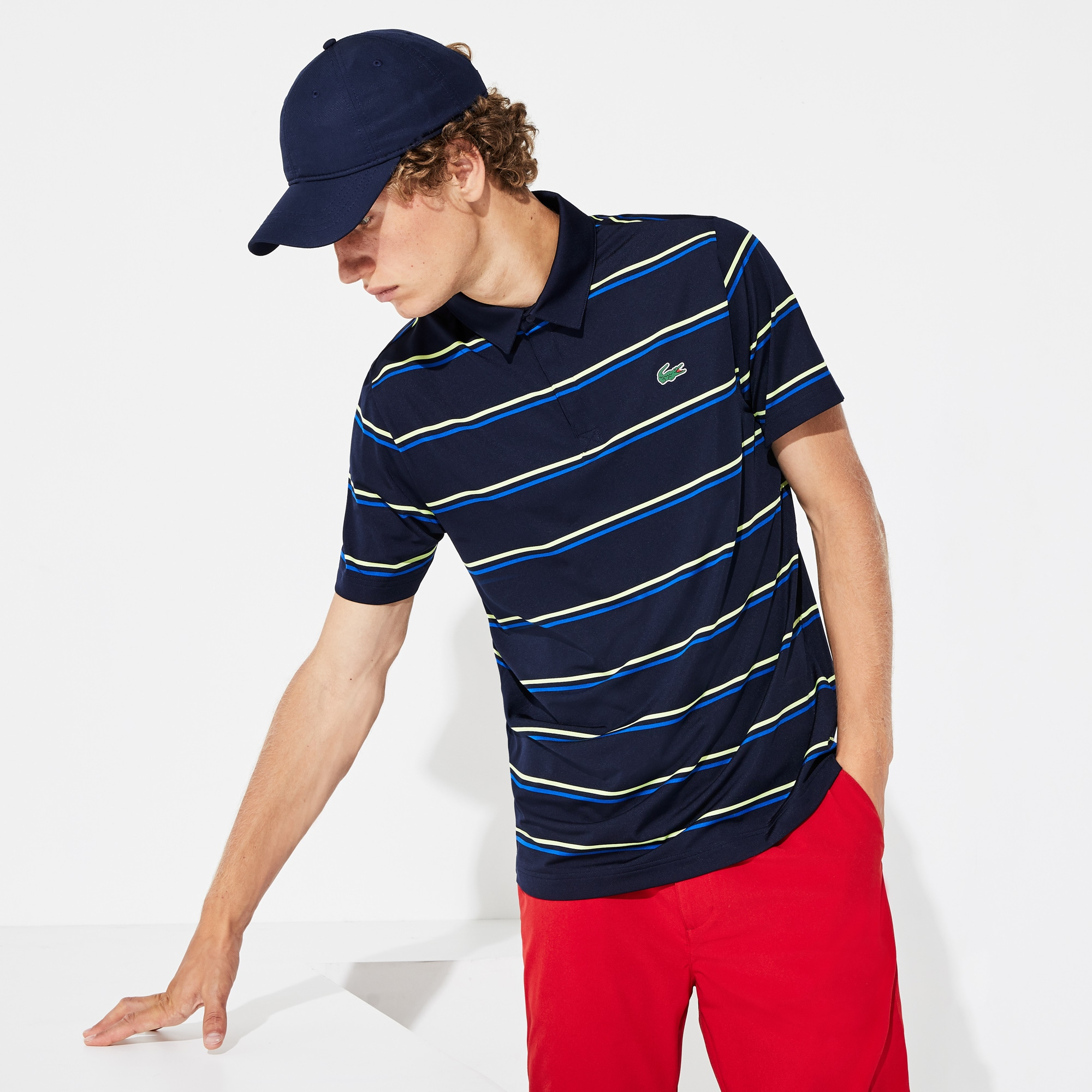 Men's Lacoste SPORT Striped Breathable Jersey Golf Polo Shirt