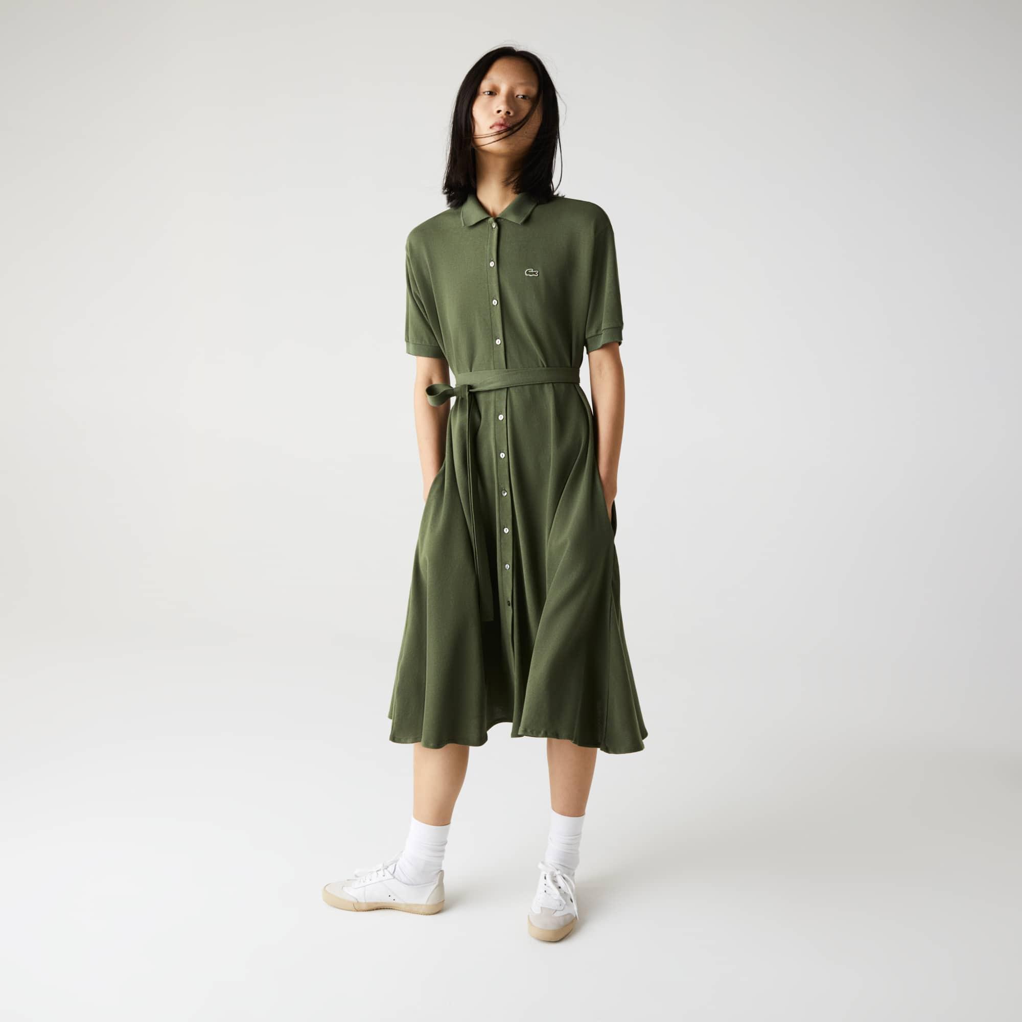 Lacoste Womens S//S Striped Cotton Pique Classic Polo Dress