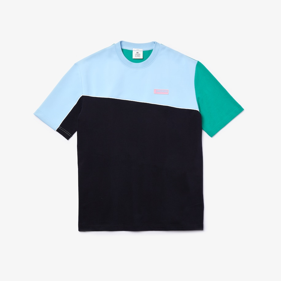 Unisex Lacoste LIVE Loose Fit Colourblock Cotton And Neoprene T-shirt