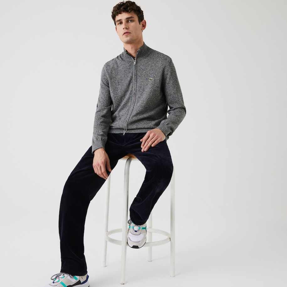 Men's Stand-up Collar Organic Cotton Zippered Sweater
