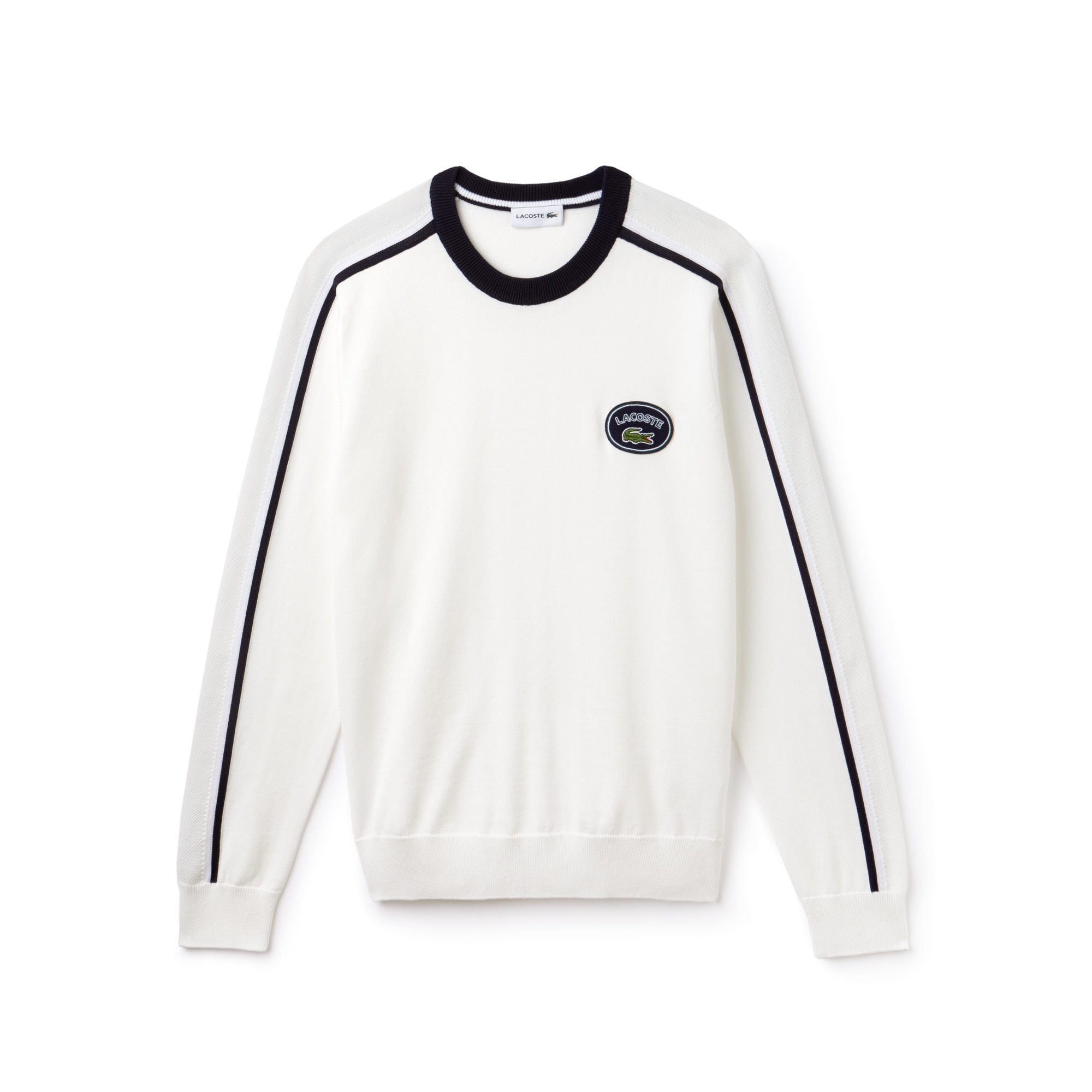 Men's Crew Neck Contrast Accents Cotton Jersey Sweater