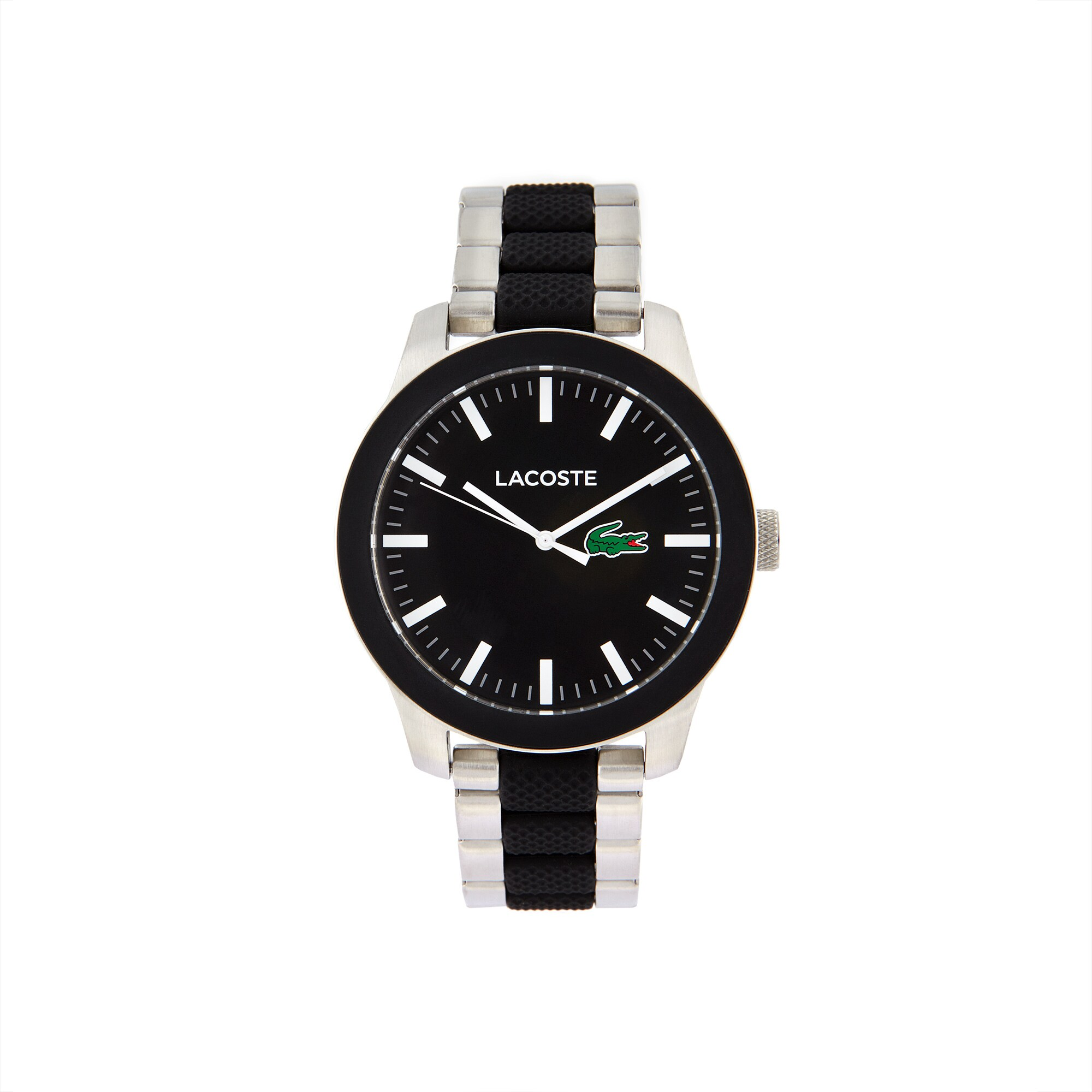 Men's Lacoste 12.12 Watch with Bi-material Black Silicone and Stainless Steel Bracelet