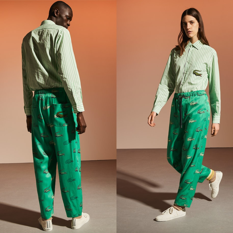Unisex Fashion Show Edition Crocodile Print Satin Tracksuit Pants