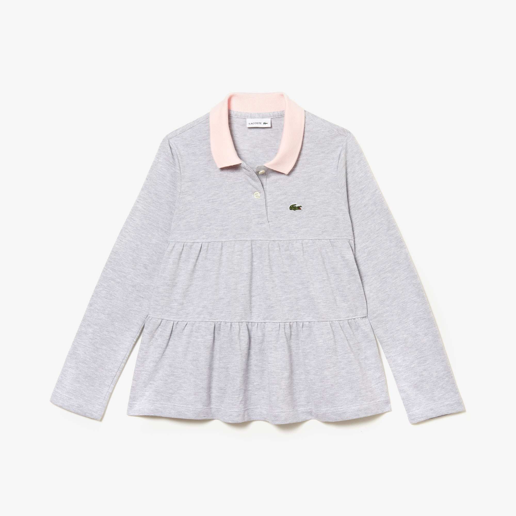 Girls' Lacoste Flounced Cotton Piqué Polo Shirt