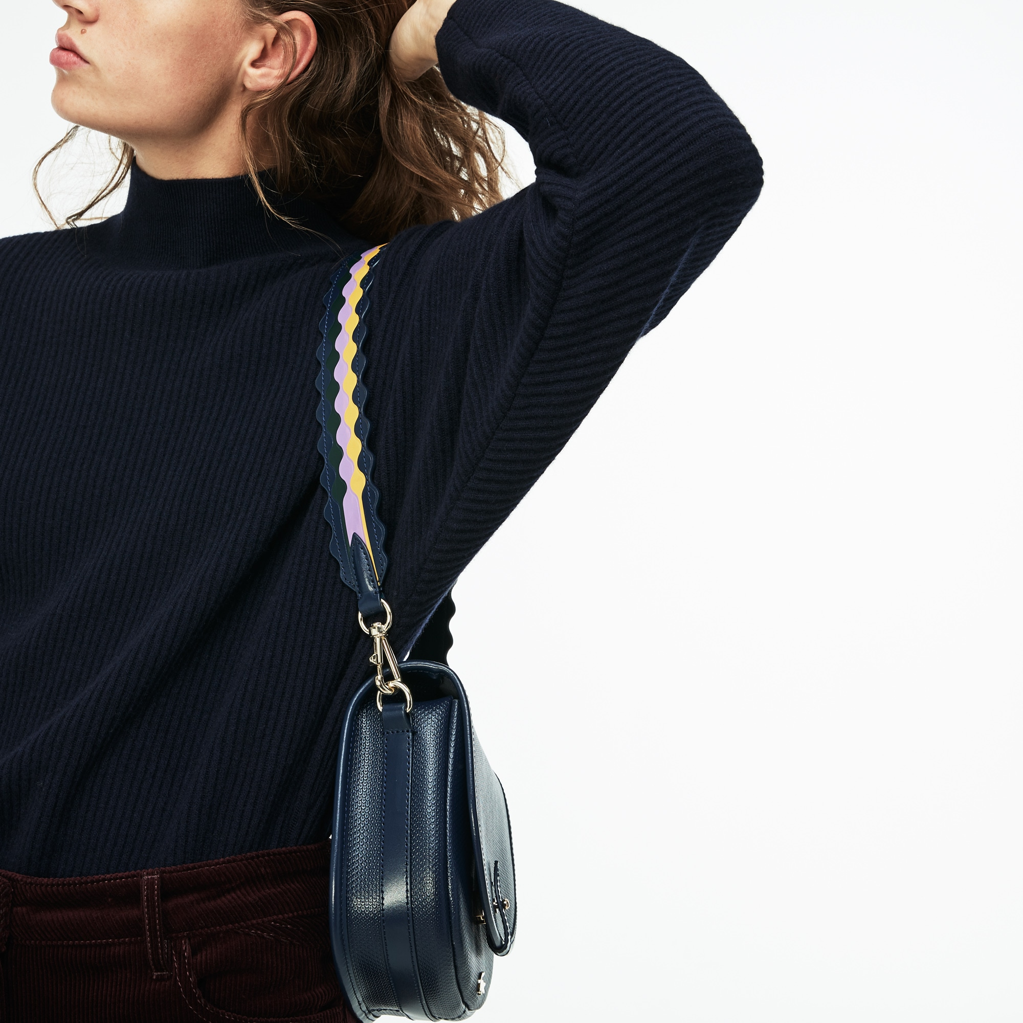 Women's Fancy Straps Colored Waves Leather Shoulder Strap
