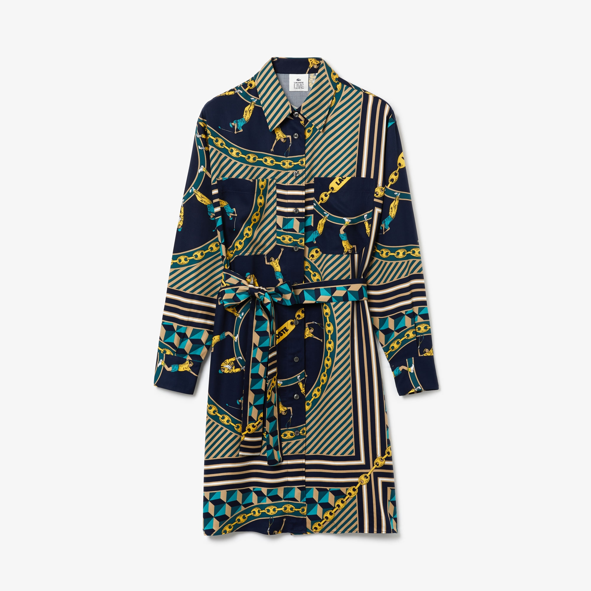 Women's Lacoste LIVE Scarf Print Shirt Dress