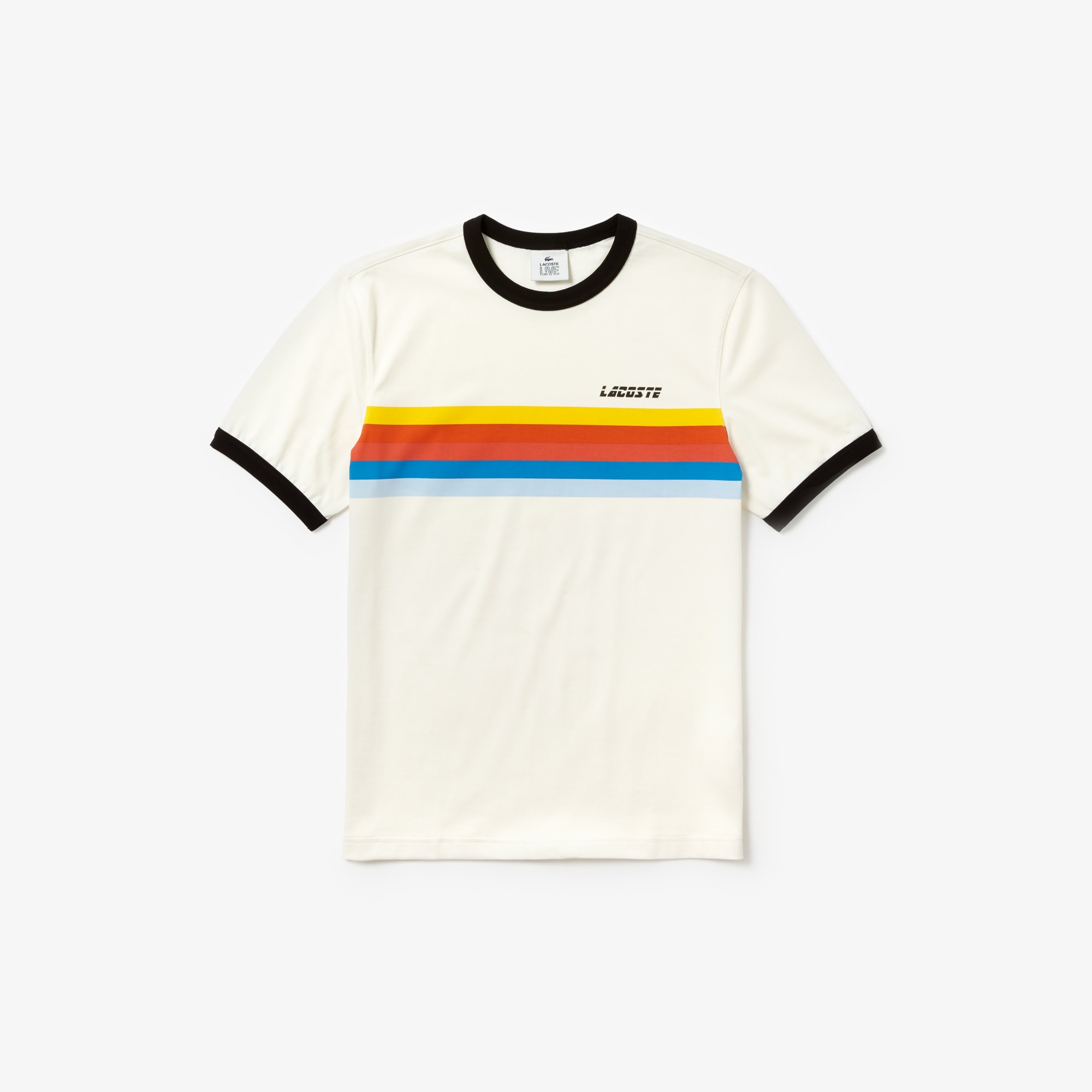 Cotton Neck Shirt Rainbow T Crew Striped Lacoste Live Men's F61tvYv