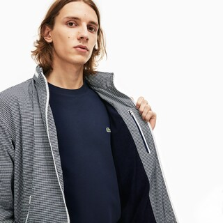 Men's Concealed Hood Lightweight Gingham Print Zip Jacket