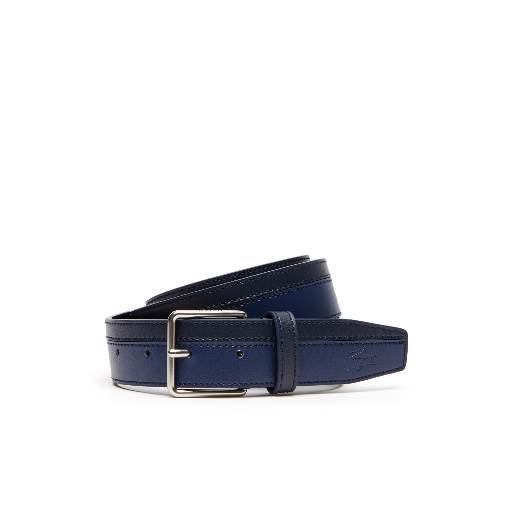 Men's Lacoste Engraved Tongue Buckle Bicolour Leather Belt