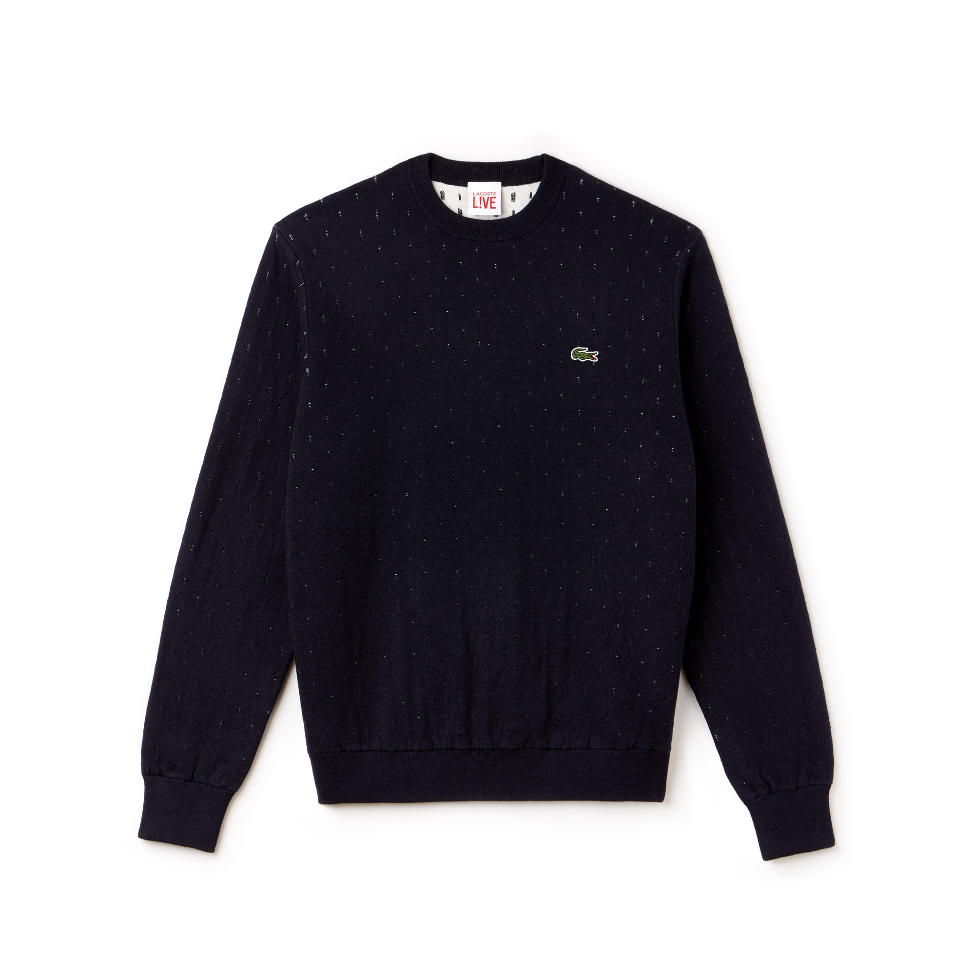 Men's Lacoste LIVE Crew Neck Cotton And Cashmere Jacquard Sweater