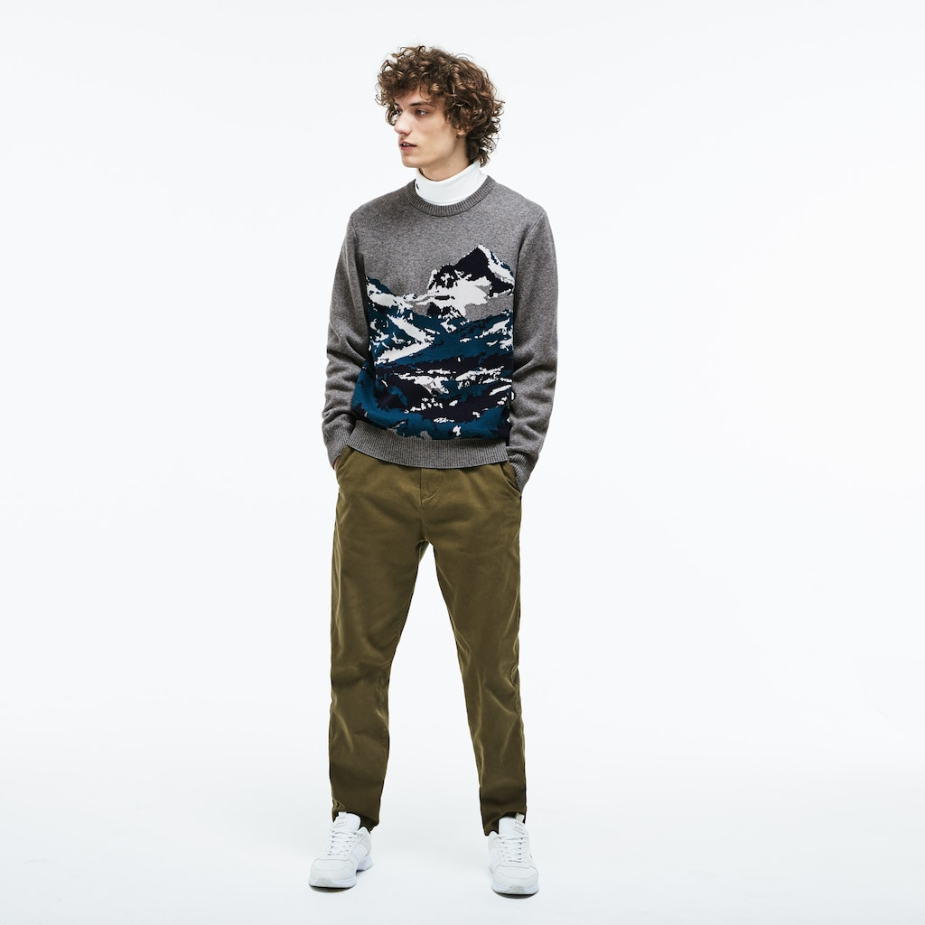 Men's Crew Neck Mountain Print Wool And Cotton Jacquard Sweater