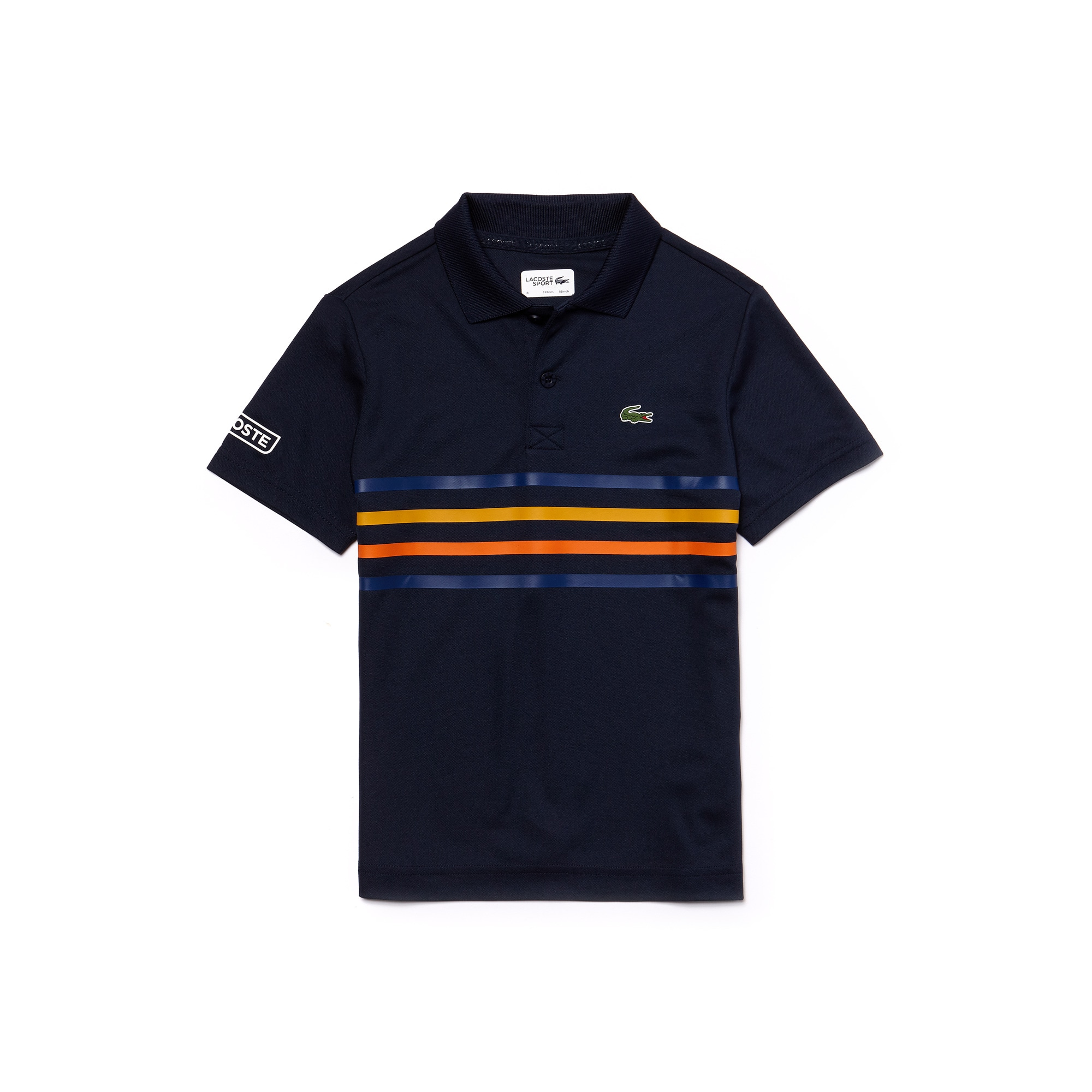Boys' Lacoste SPORT Colored Bands Tech Piqué Tennis Polo