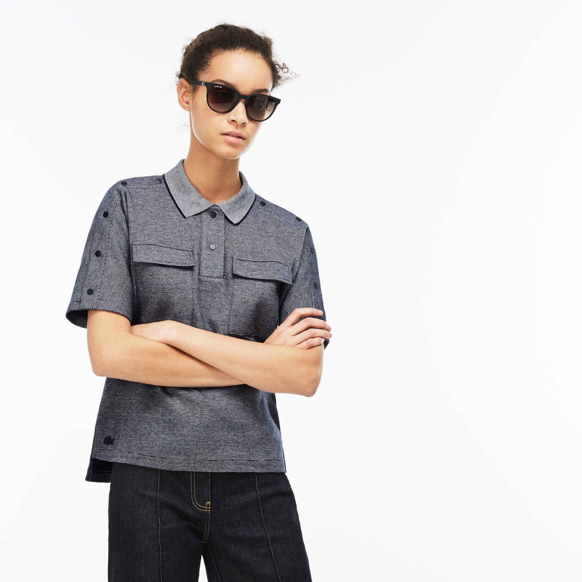 Women's Lacoste Buttoned Pinstriped Piqué Polo Shirt