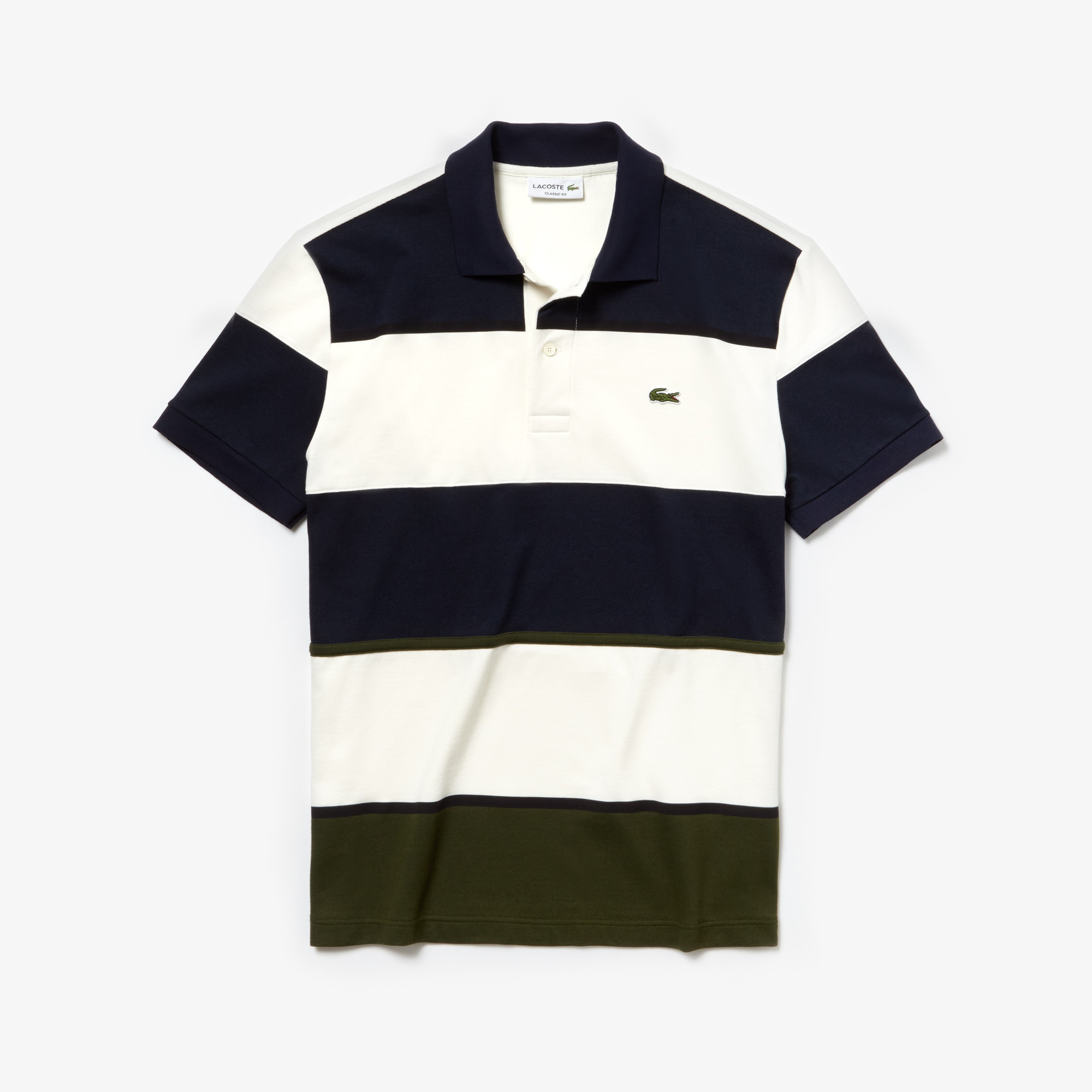 1d4351d660 Men's Lacoste L.12.12 Colourblock Striped Technical Piqué Polo Shirt ...