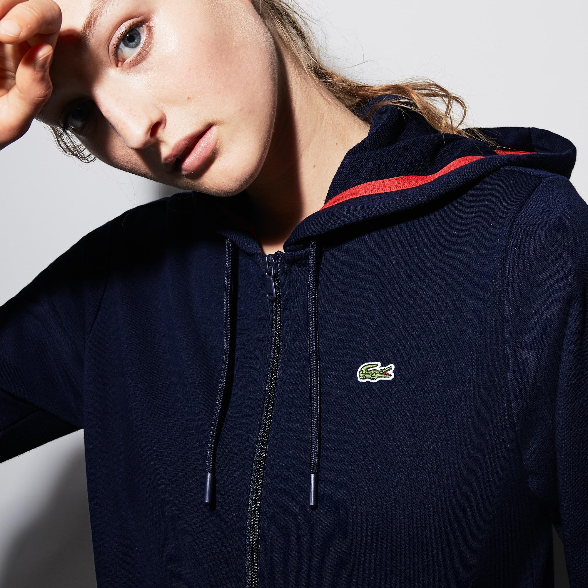 824416eab2 Women's Lacoste SPORT Tennis Hooded Zippered Fleece Sweatshirt