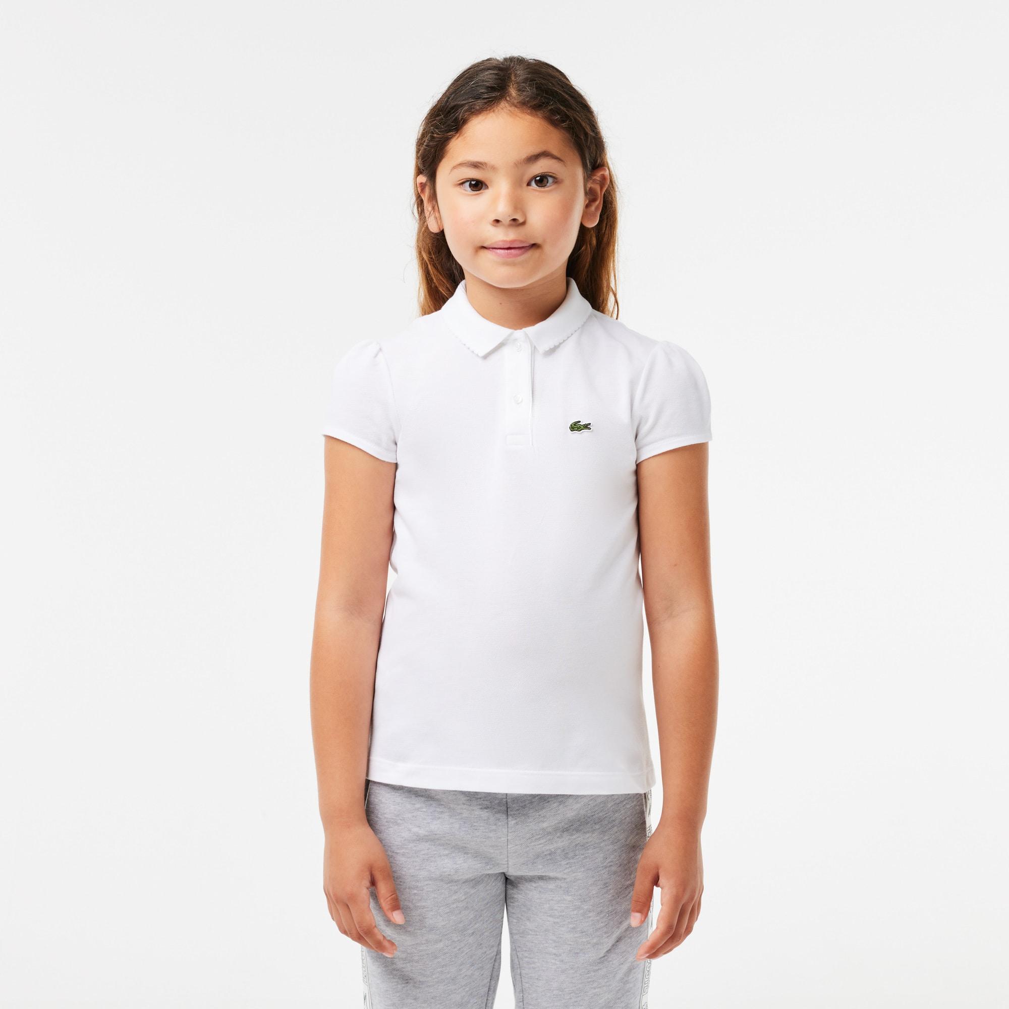 e9f26264cf Girls' Lacoste Scalloped Collar Mini Piqué Polo Shirt | LACOSTE