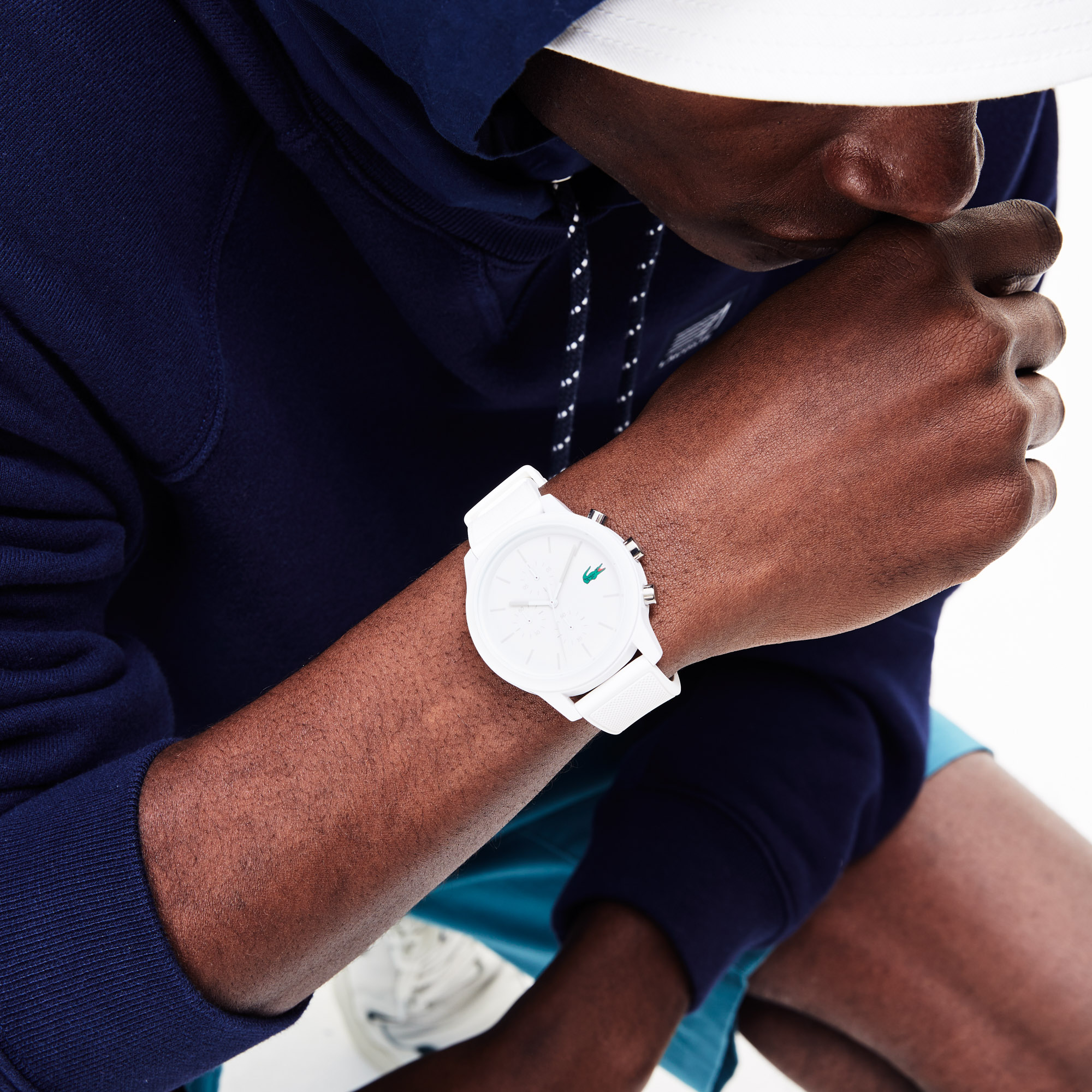 Men's Lacoste 12.12 Chronograph Watch with White Silicone Strap