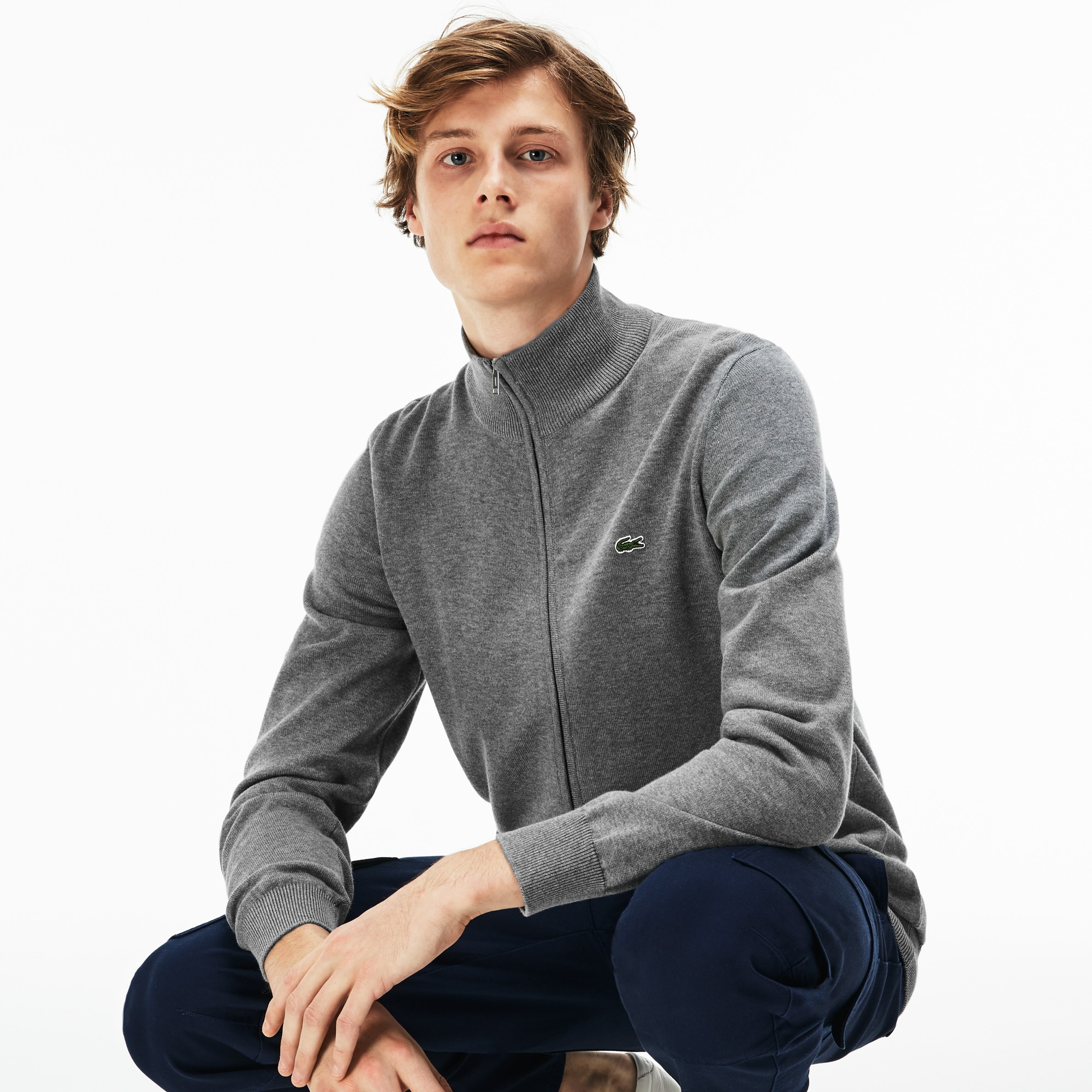 Men's Zip Stand-Up Collar Cotton Jersey Cardigan