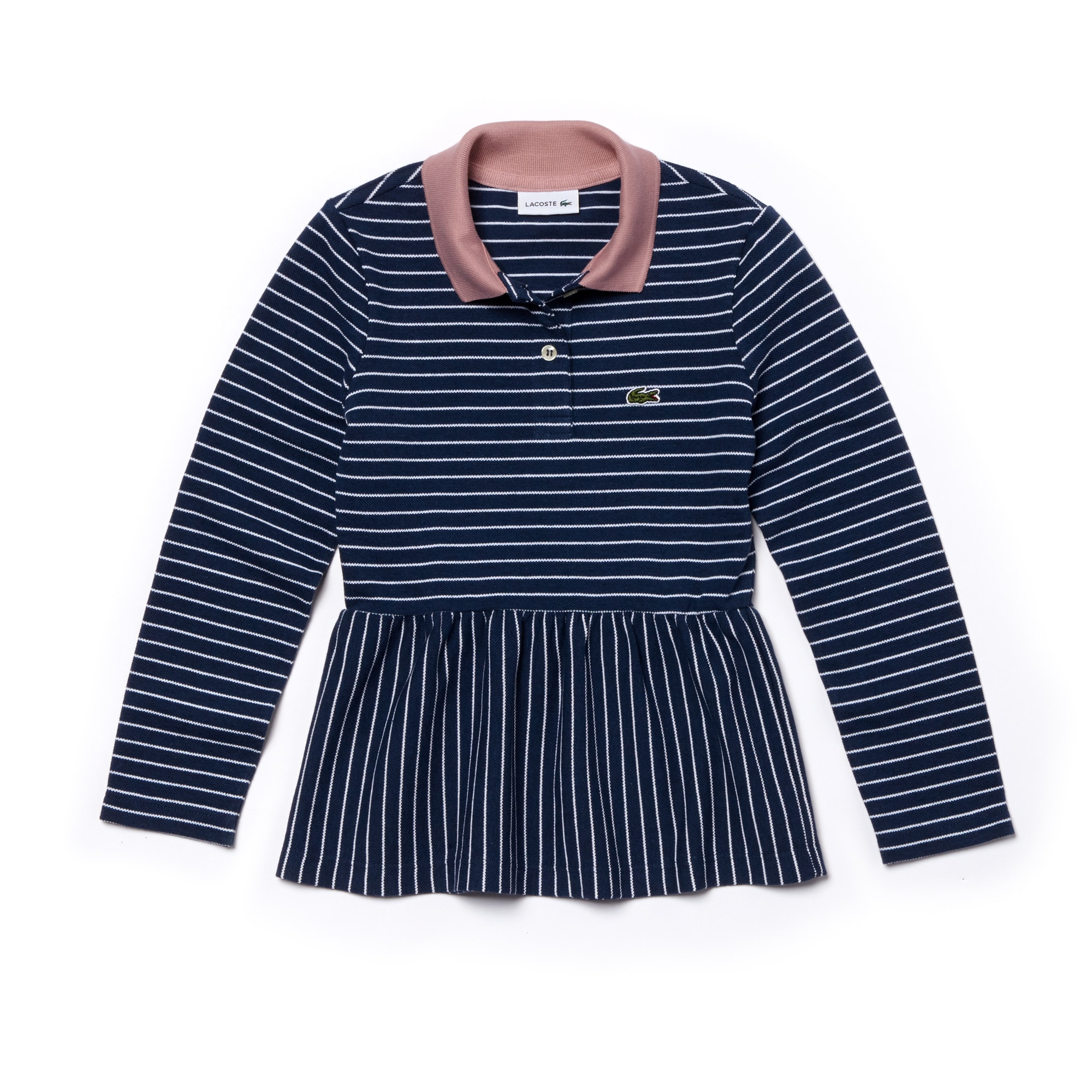 Girls' Lacoste Striped Piqué Polo Shirt