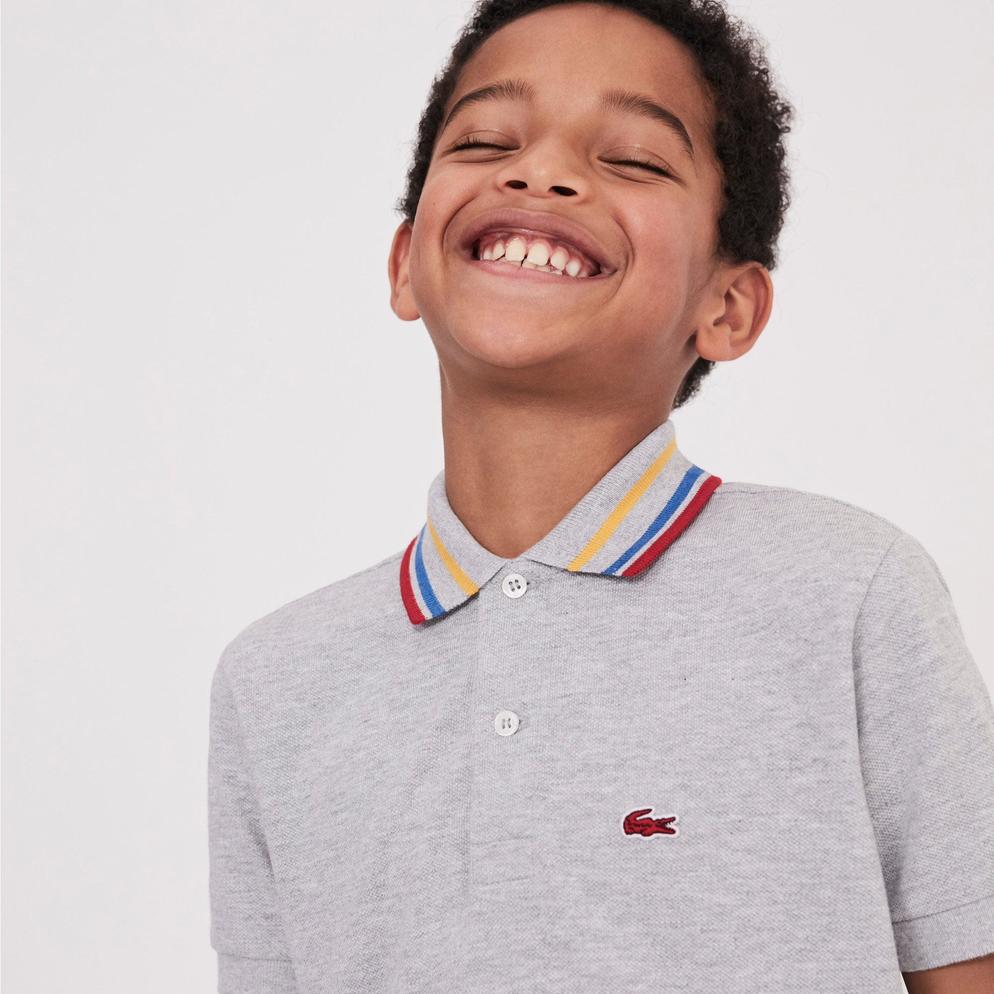 Boys' Lacoste Striped Neck Petit Piqué Polo Shirt