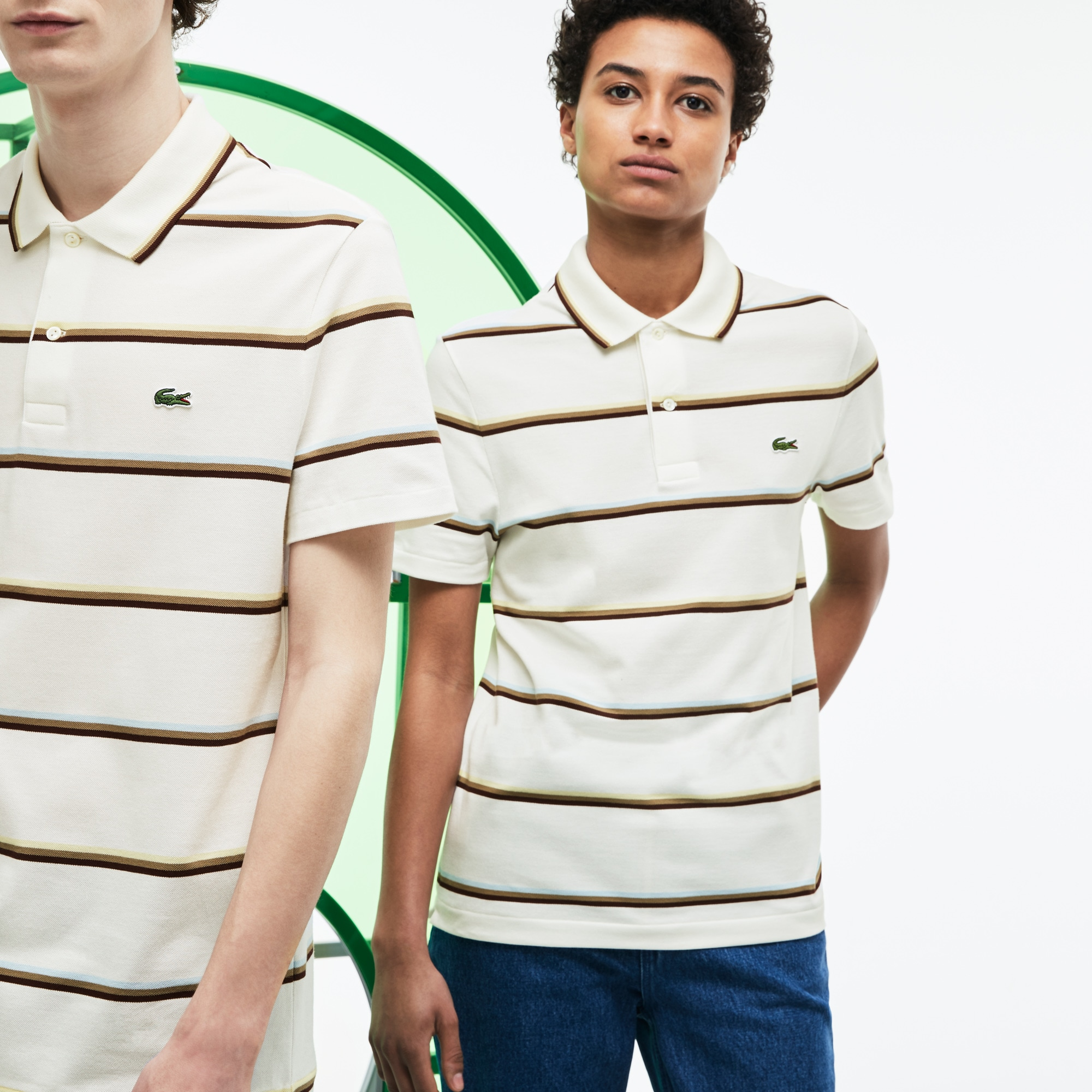 Unisex Lacoste Fashion Show Colored Stripes Cotton Piqué Polo Shirt