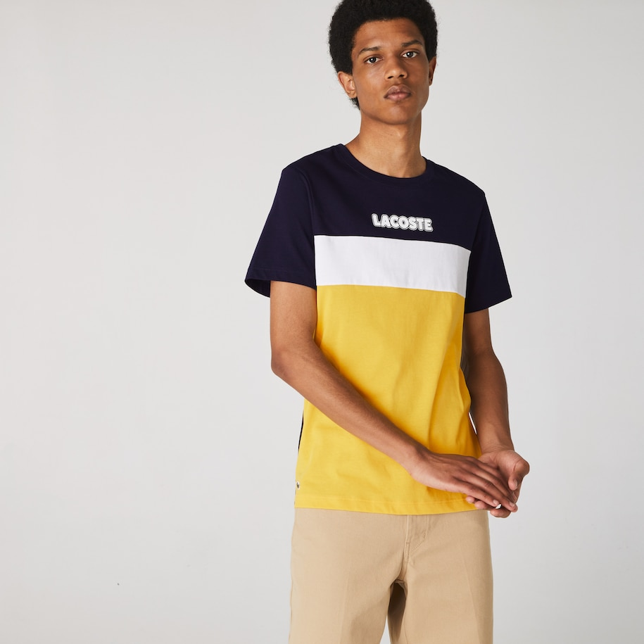 Men's Lacoste SPORT Colourblock Cotton Blend Jersey T-shirt