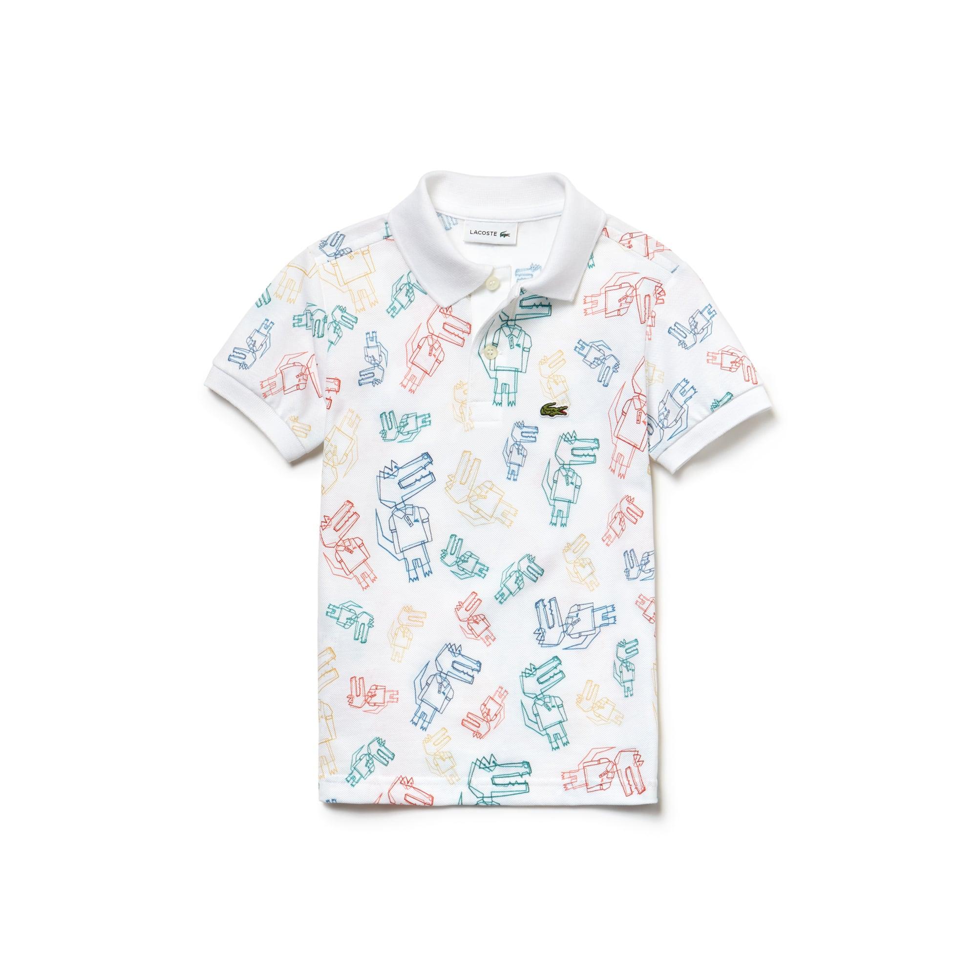 Boys' Lacoste Print Mini Piqué Polo