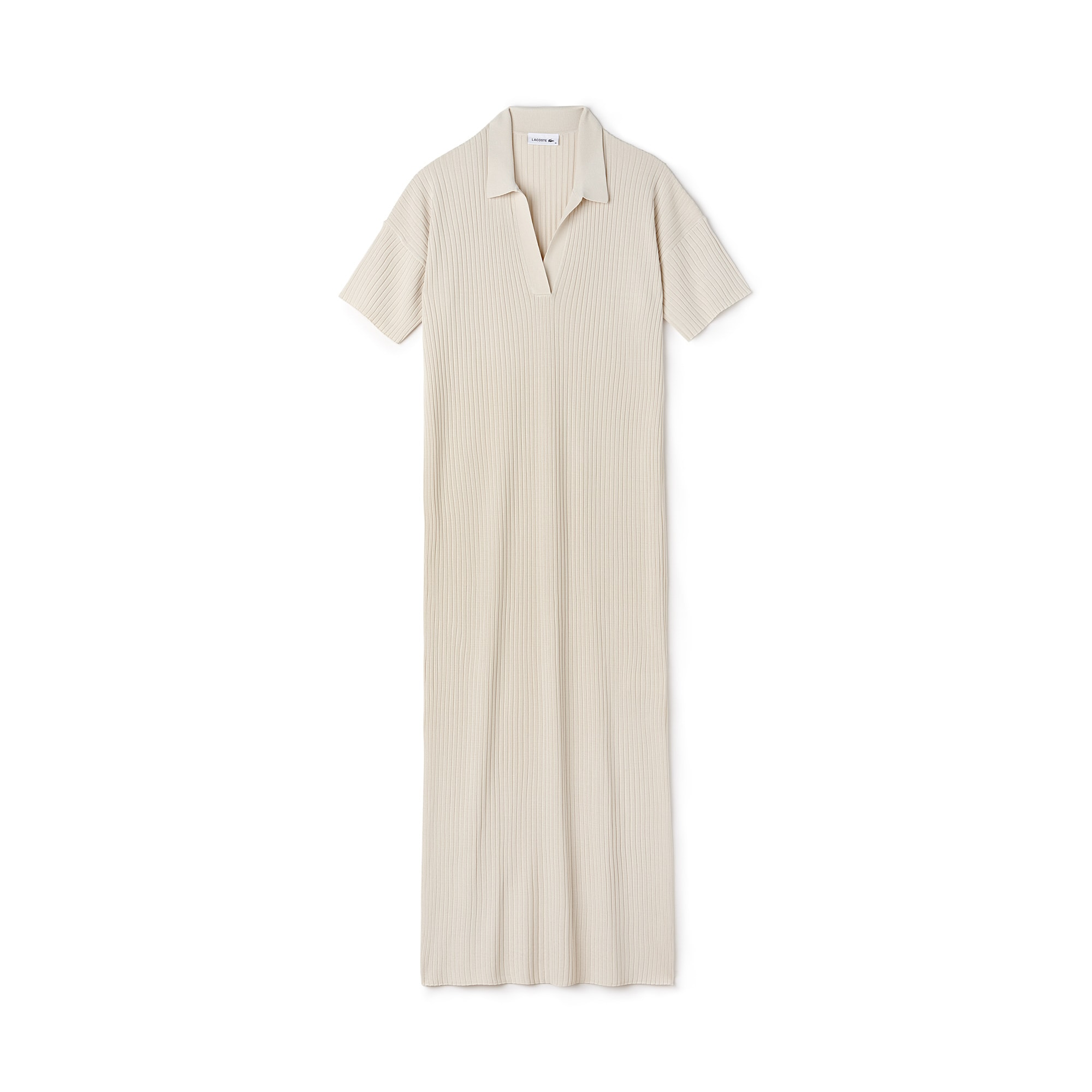 Women's Open Polo Collar Ribbed Knit Long Dress