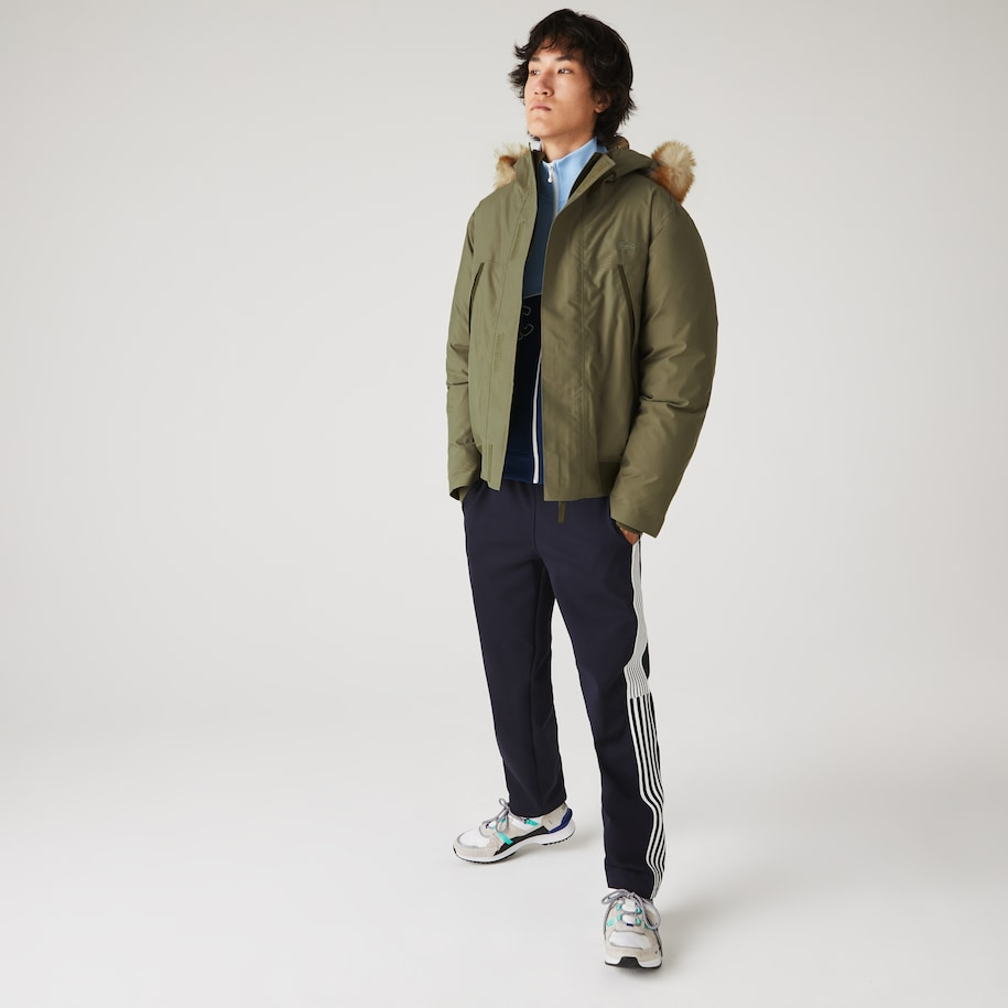 Men's Short Water-Resistant Quilted Hooded Parka