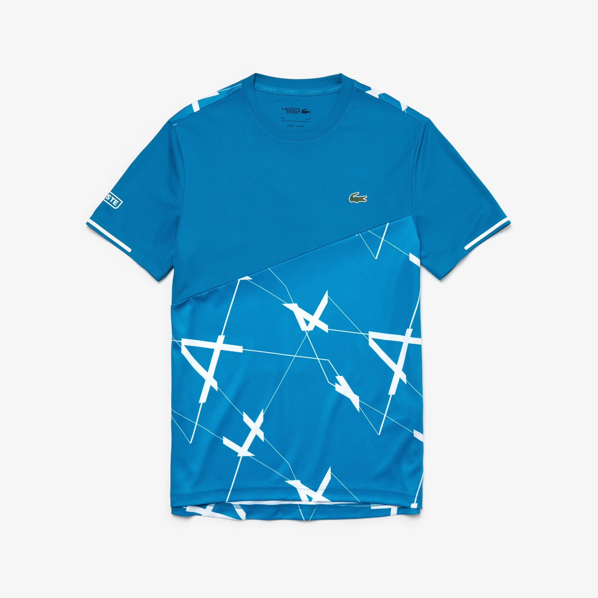 Men's Lacoste SPORT Geometric Design Breathable Piqué T-shirt