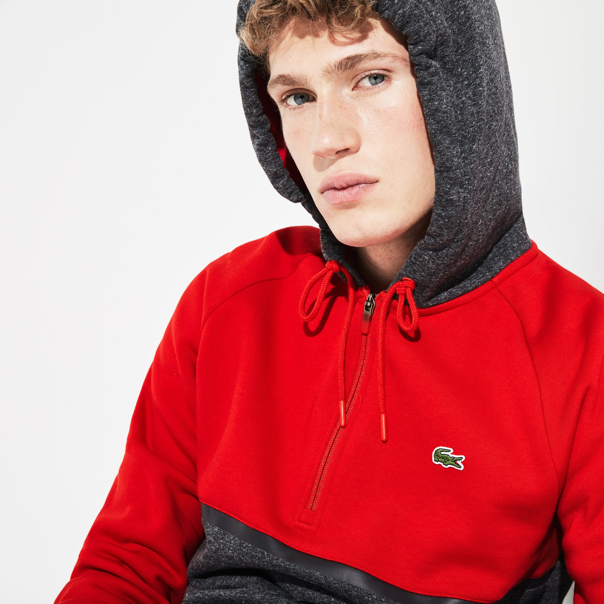 Men's Lacoste SPORT Hooded Bicolour Fleece Zip Tennis Sweatshirt