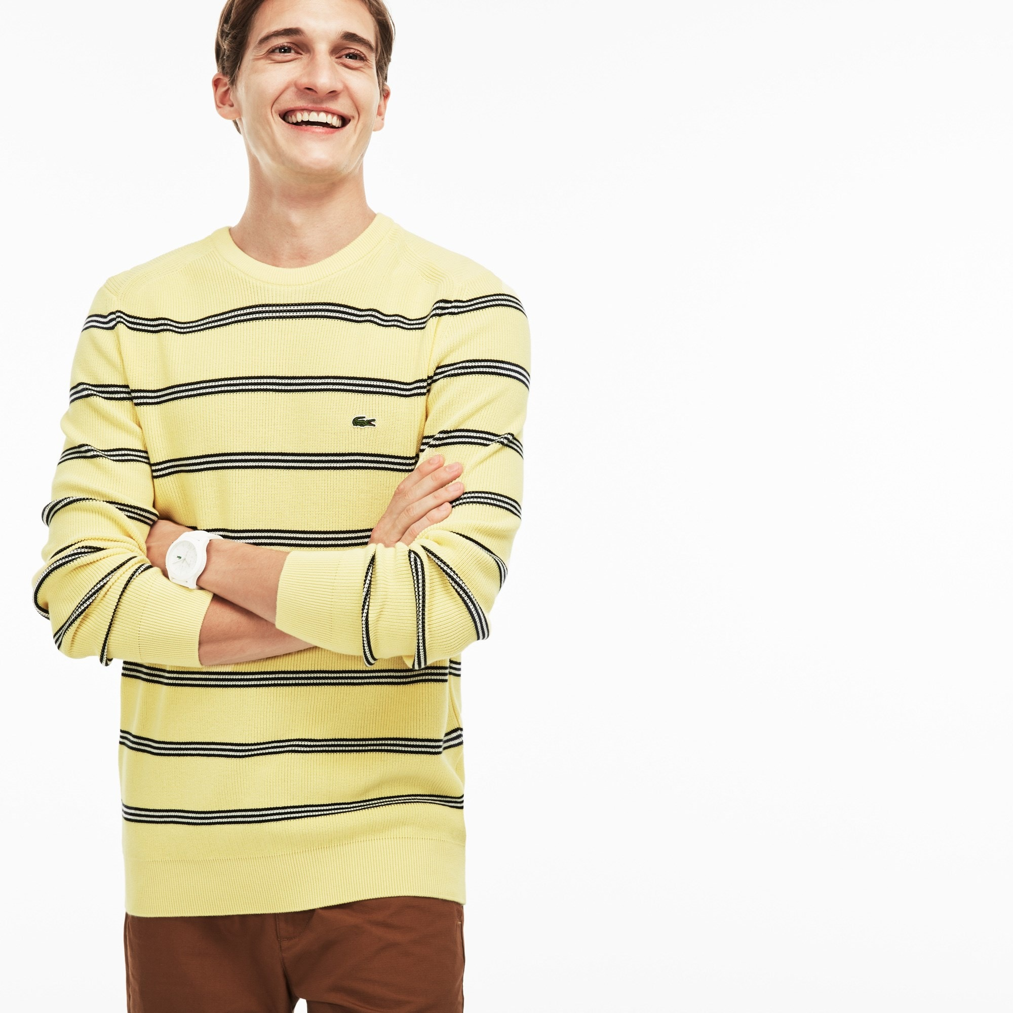 Men's Crew Neck Striped Bands Ribbed Cotton Sweater