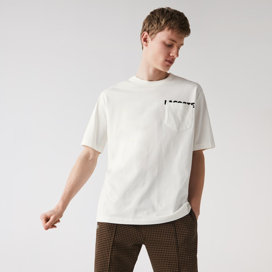 Unisex Lacoste LIVE Loose Fit Lettering And Pocket Cotton T-shirt