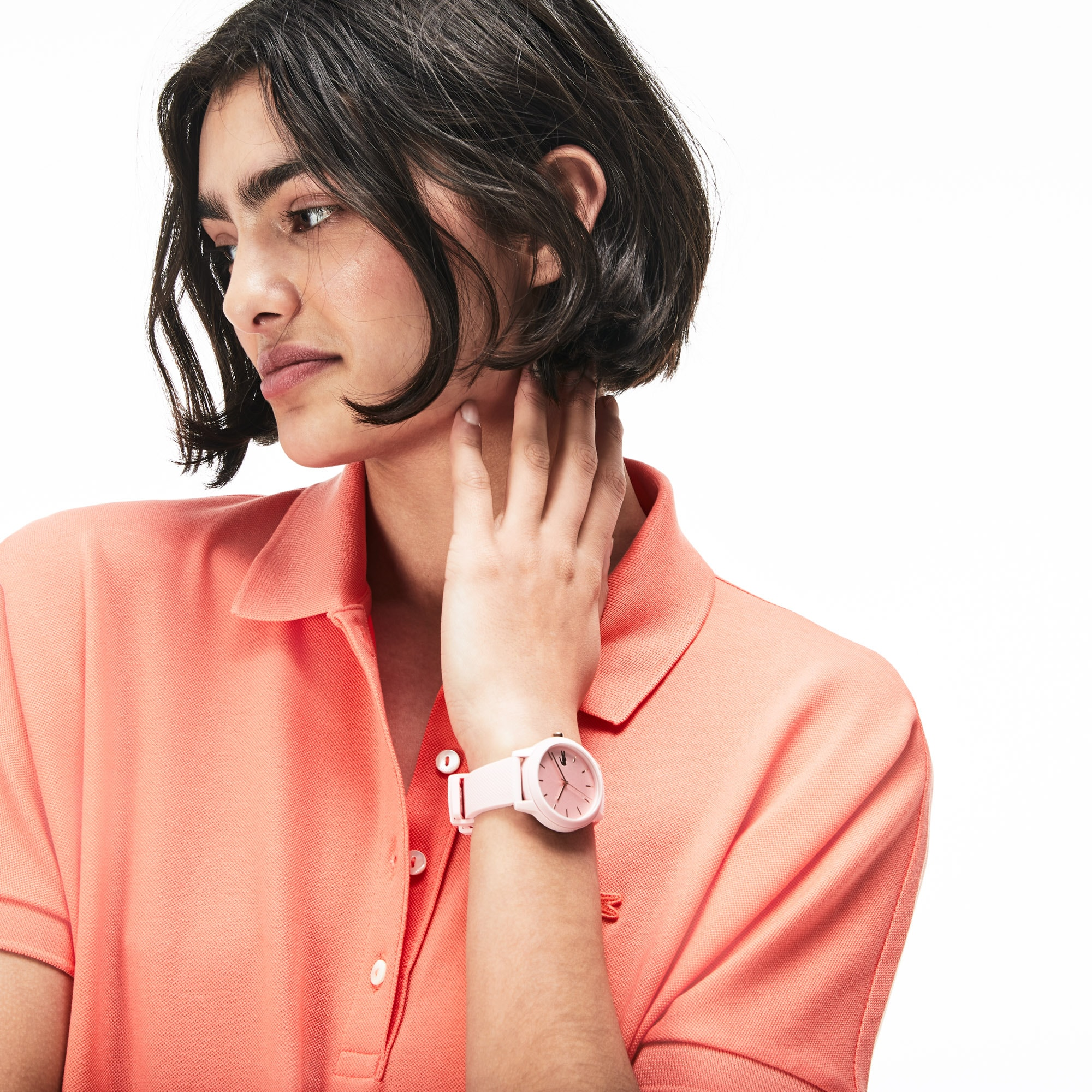 Ladies Lacoste.12.12 Watch With Pink Silicone Petit Piqué Strap