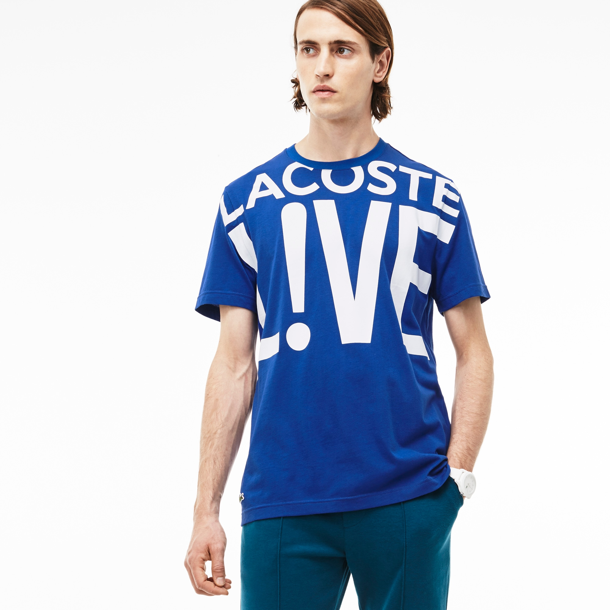 Ultra-slim fit crew neck Lacoste LIVE T-shirt with print