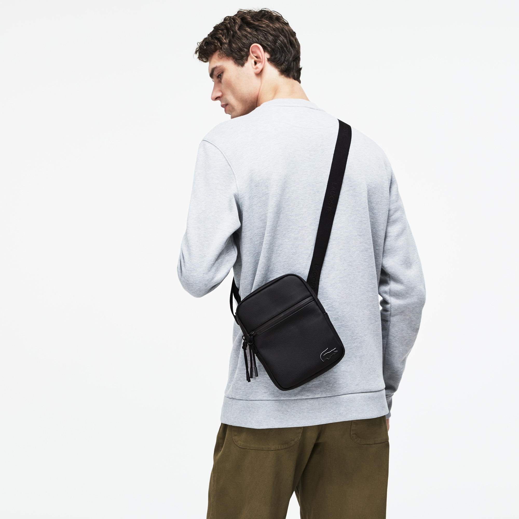 Men's L.12.12 Concept Monochrome Petit Piqué Flat Zip Bag