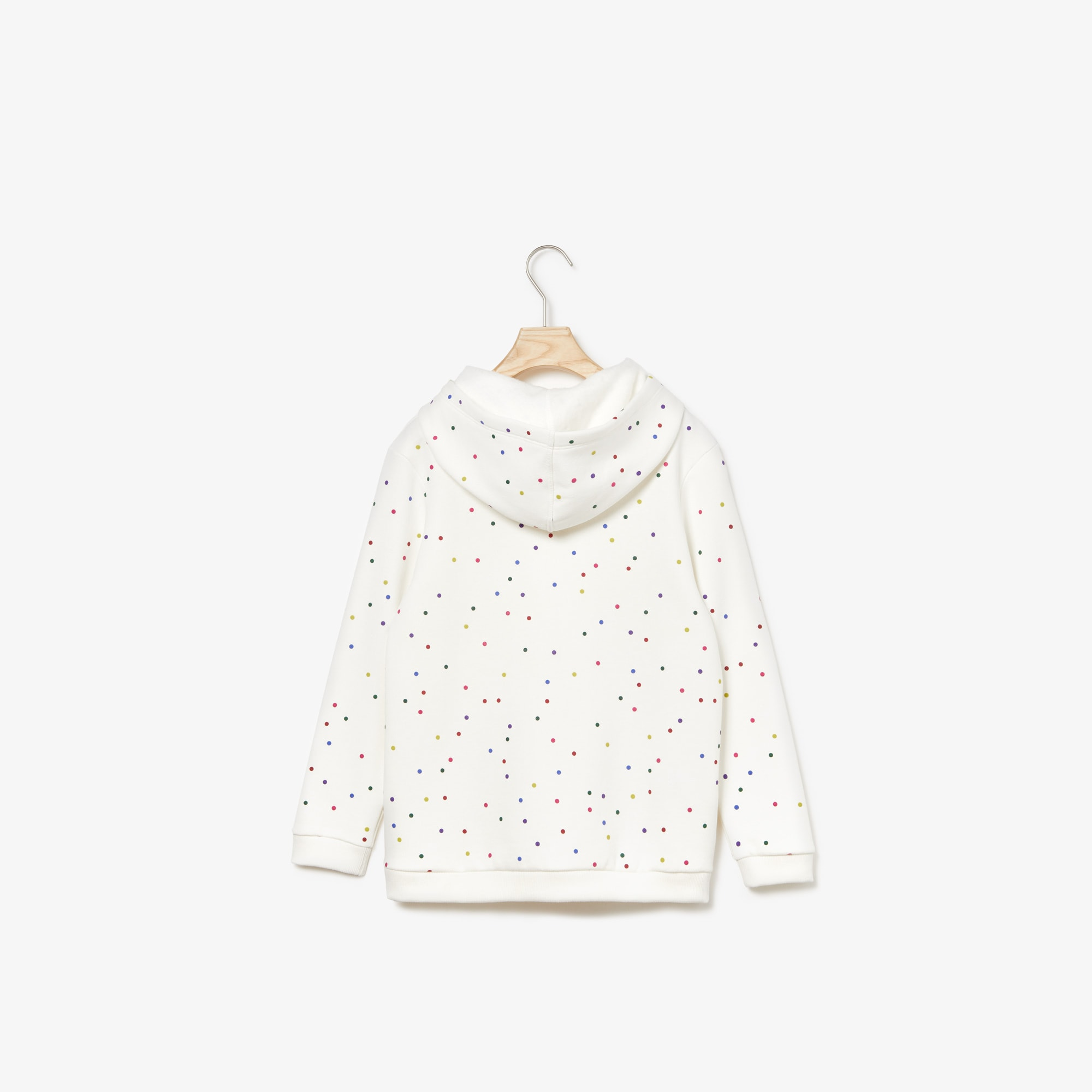 Girls' Hooded Coloured Polka Dot Fleece Sweatshirt