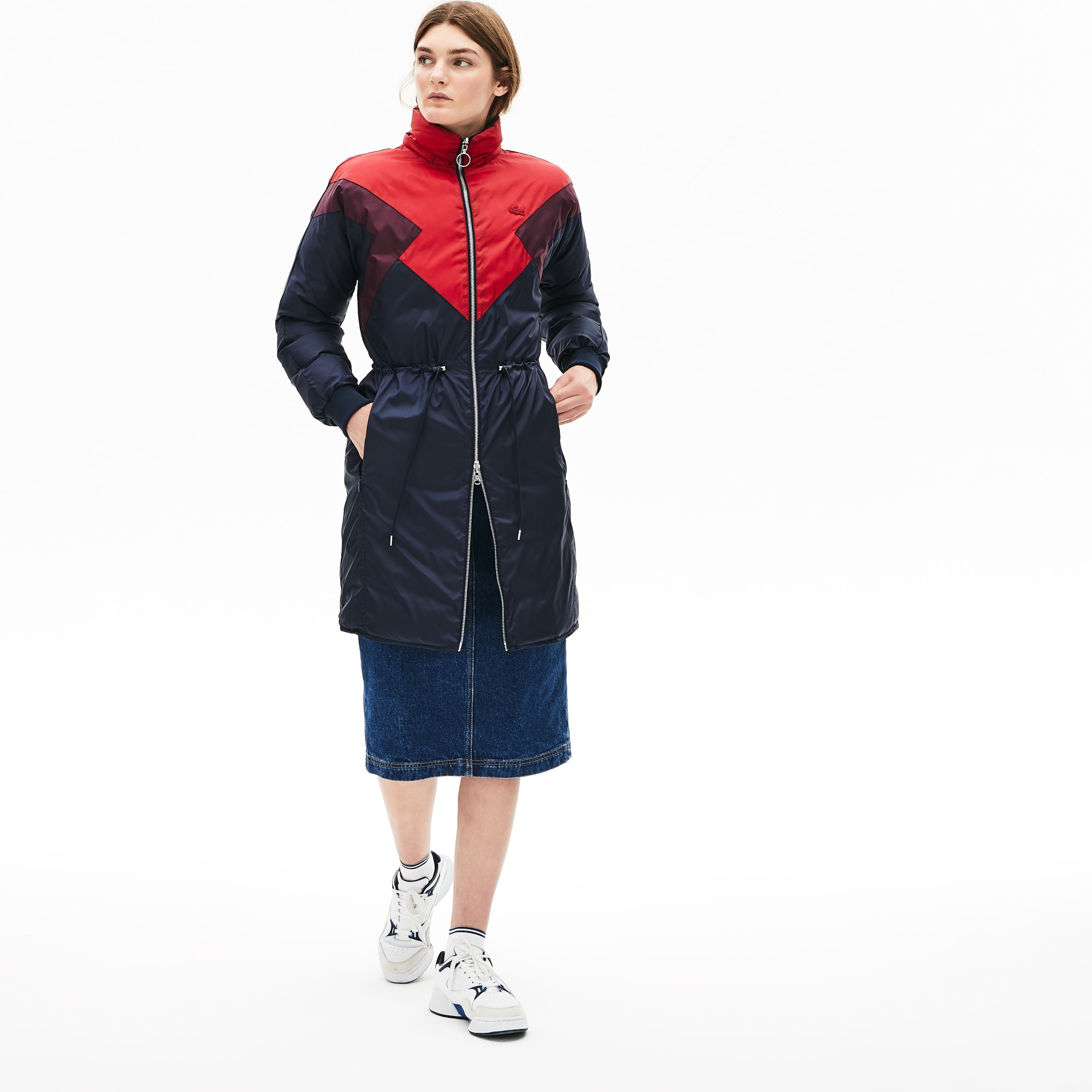 Women's Optional Colourblock Reversible Water-Resistant Long Quilted Jacket