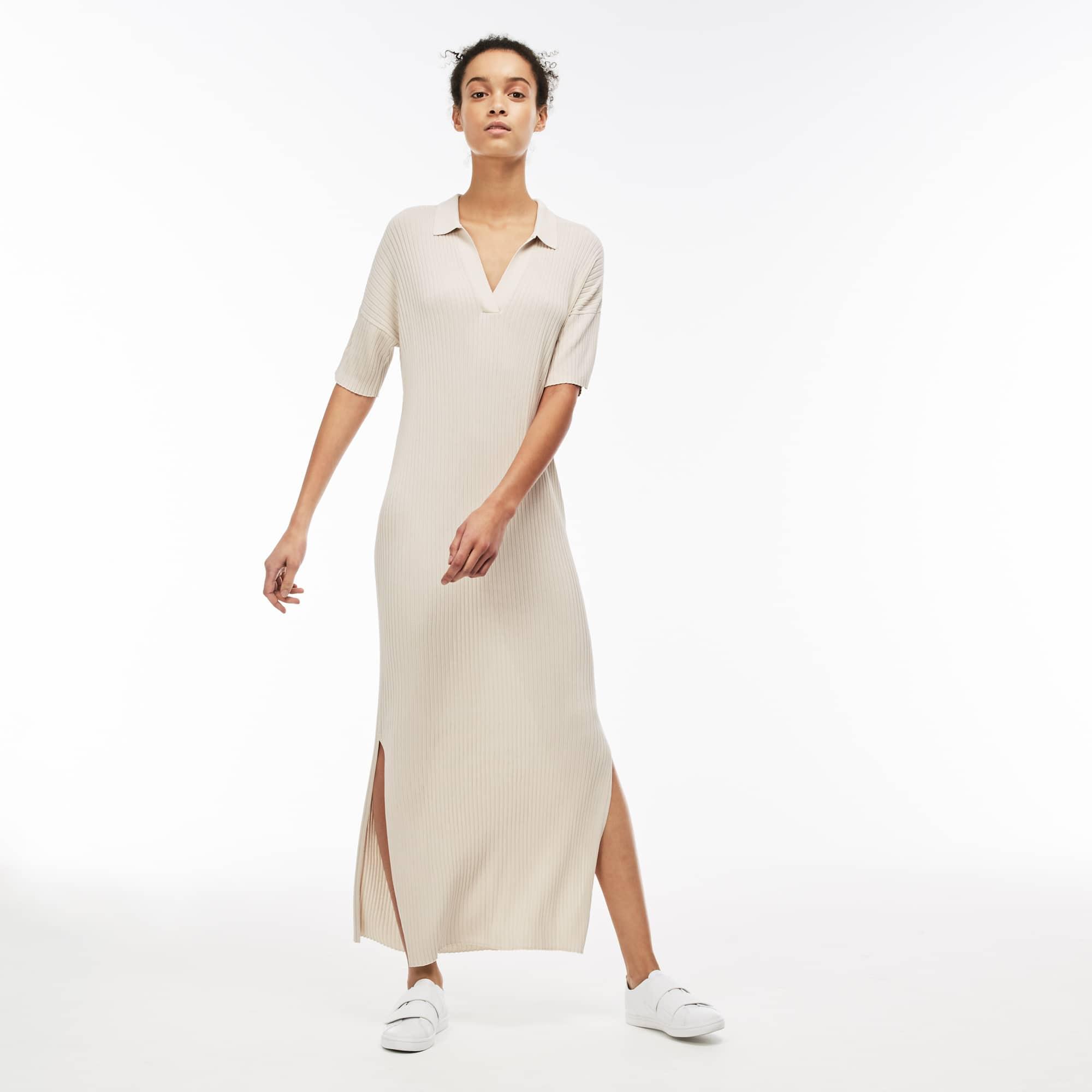 Women's Open Polo Collar Ribbed Knit Long Dress