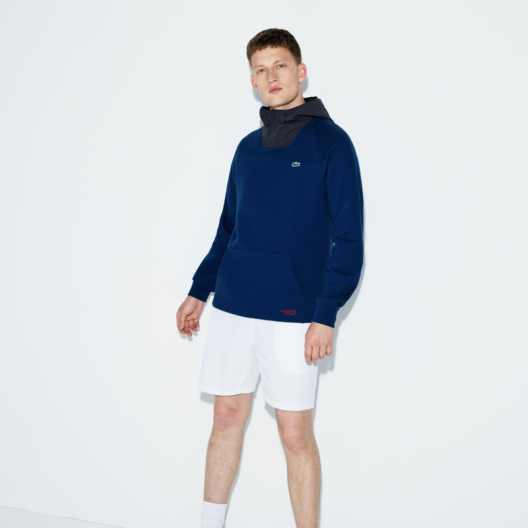 Men's Lacoste SPORT Contrast Hood Fleece Tennis Sweatshirt